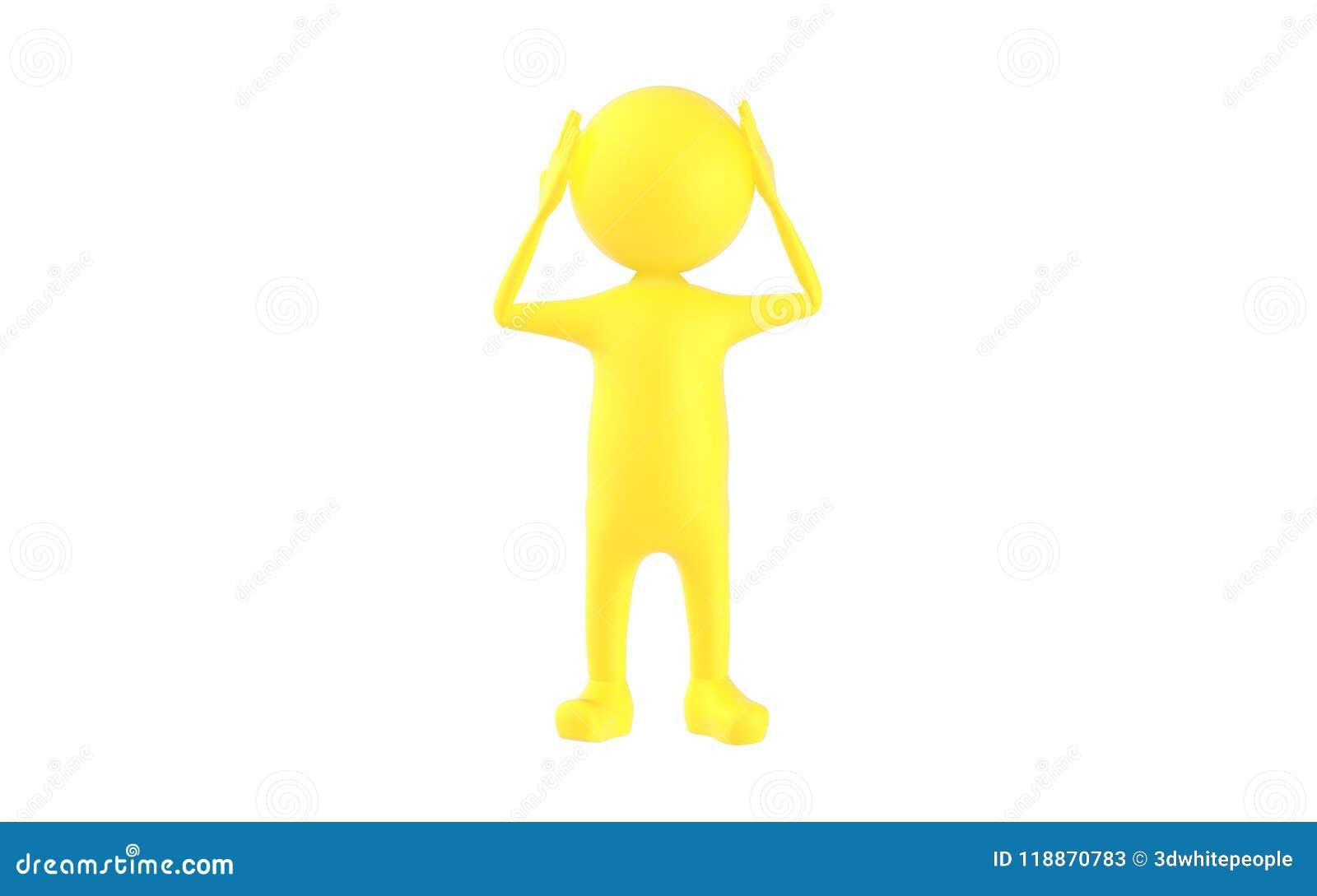 τρισδιάστατος κίτρινος χαρακτήρας που κρατά τα χέρια του στο κεφάλι του