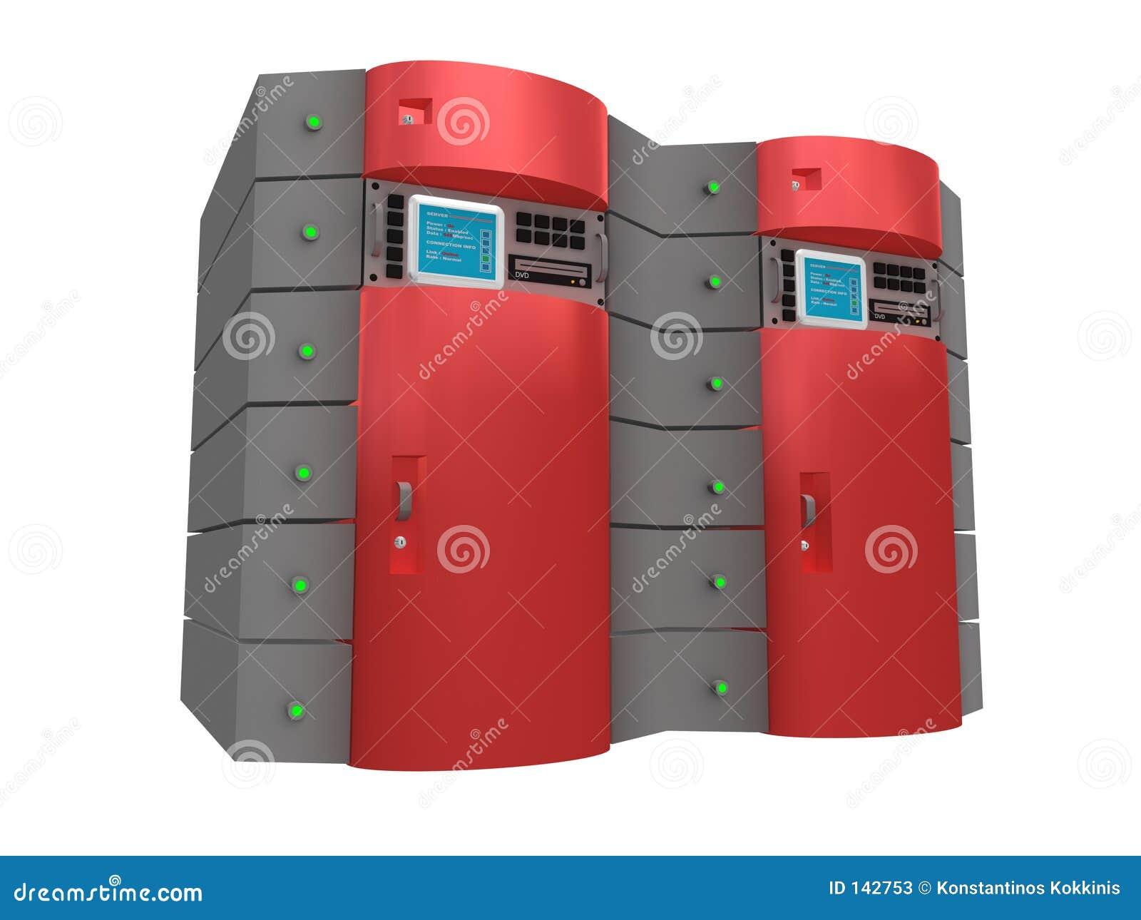 τρισδιάστατος κόκκινος κεντρικός υπολογιστής