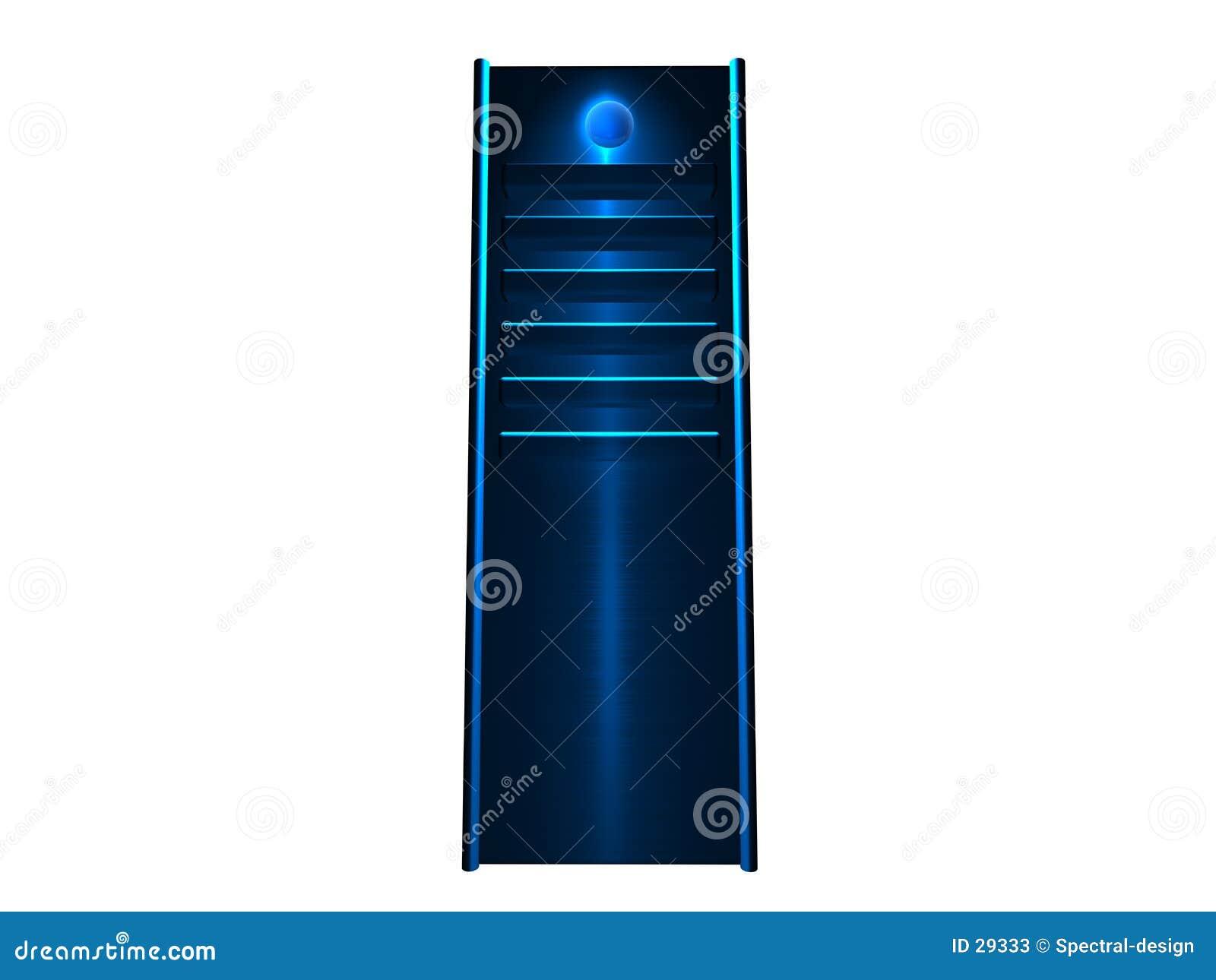 τρισδιάστατος μπλε καμμένος κεντρικός υπολογιστής