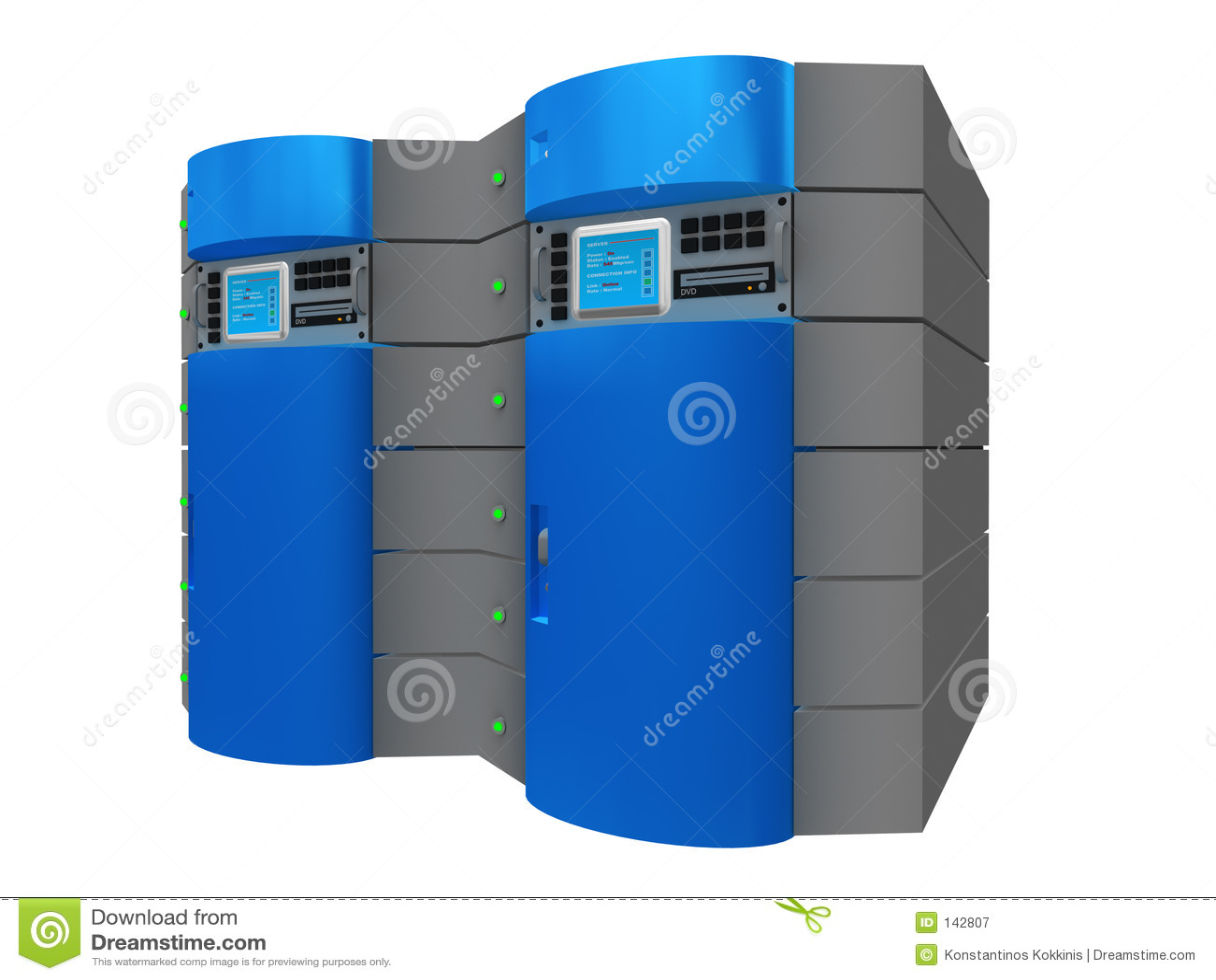 τρισδιάστατος μπλε κεντρικός υπολογιστής