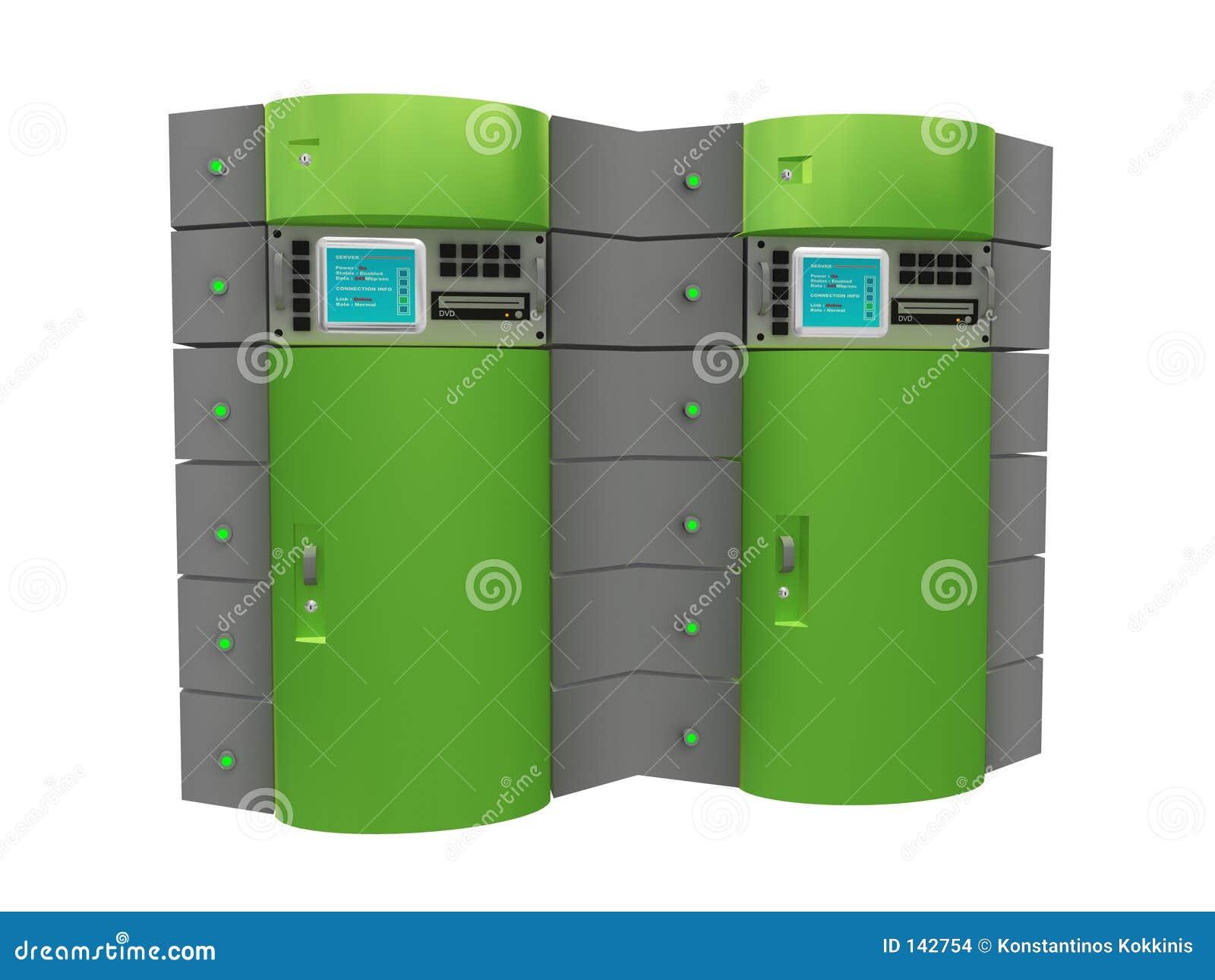 τρισδιάστατος πράσινος κεντρικός υπολογιστής