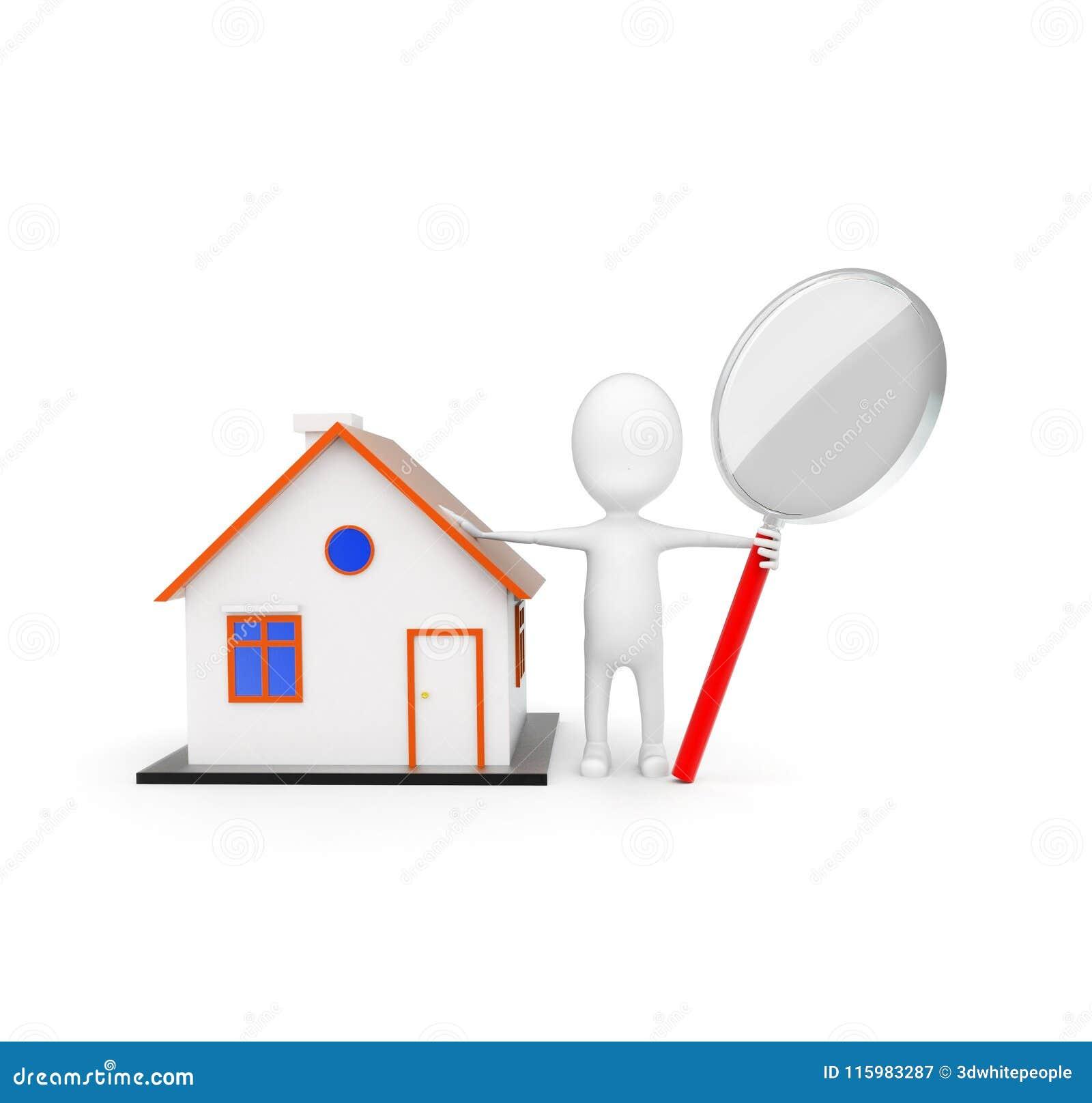 τρισδιάστατο άτομο που κρατά μια ενίσχυση - γυαλί πλησίον σε μια μικρή έννοια σπιτιών