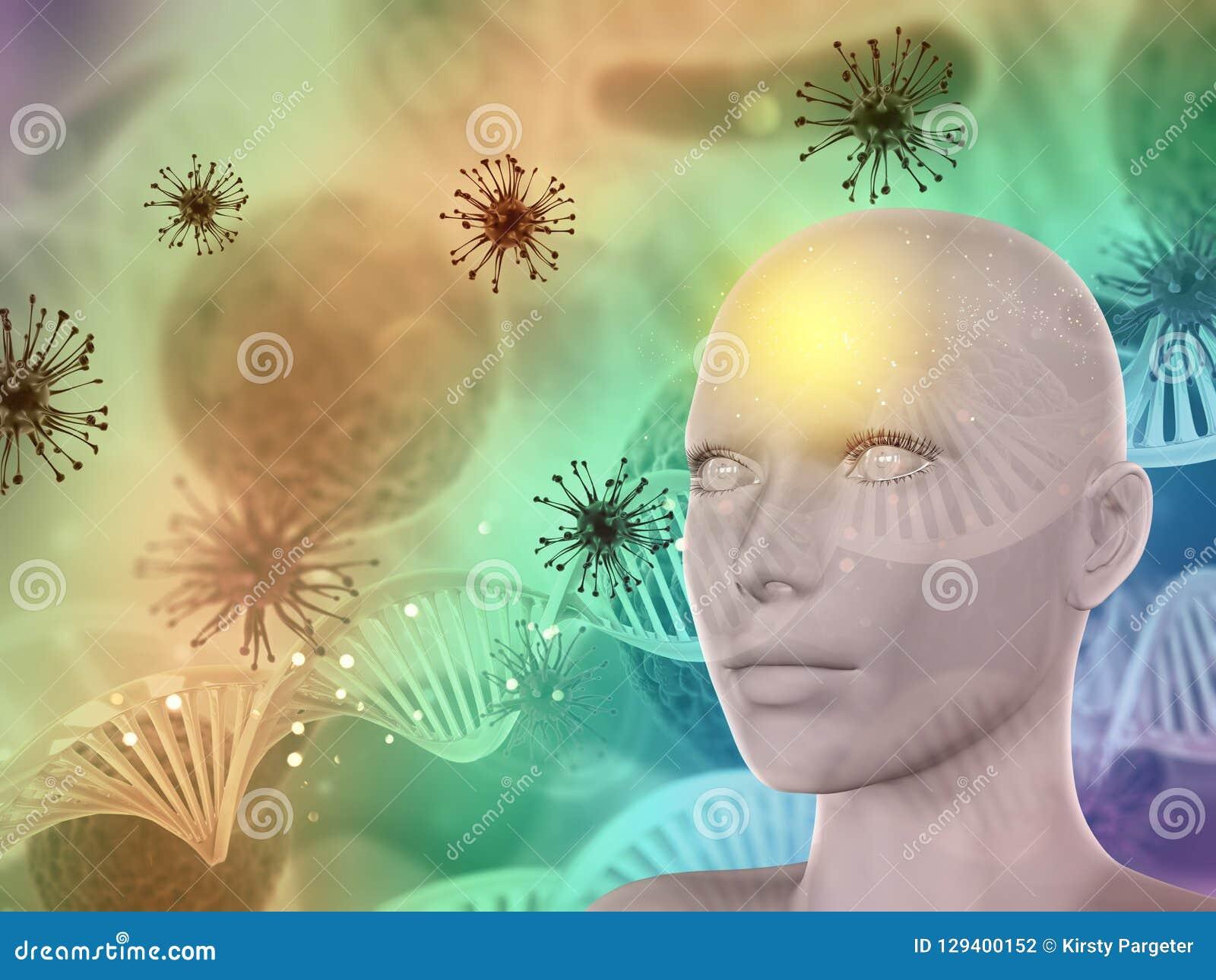 τρισδιάστατο αφηρημένο ιατρικό υπόβαθρο με το θηλυκό πρόσωπο, κύτταρα ιών και