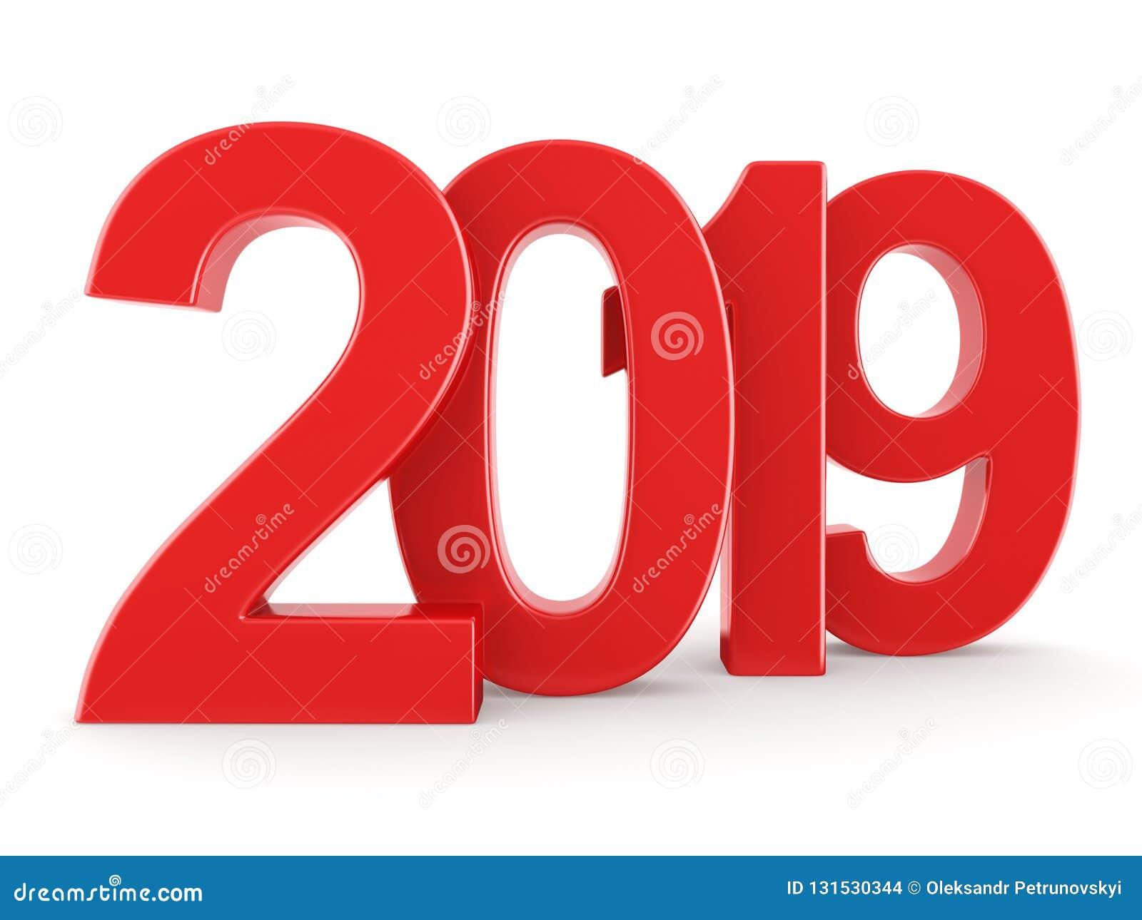 τρισδιάστατο δίνοντας το 2019 νέα κόκκινα ψηφία έτους
