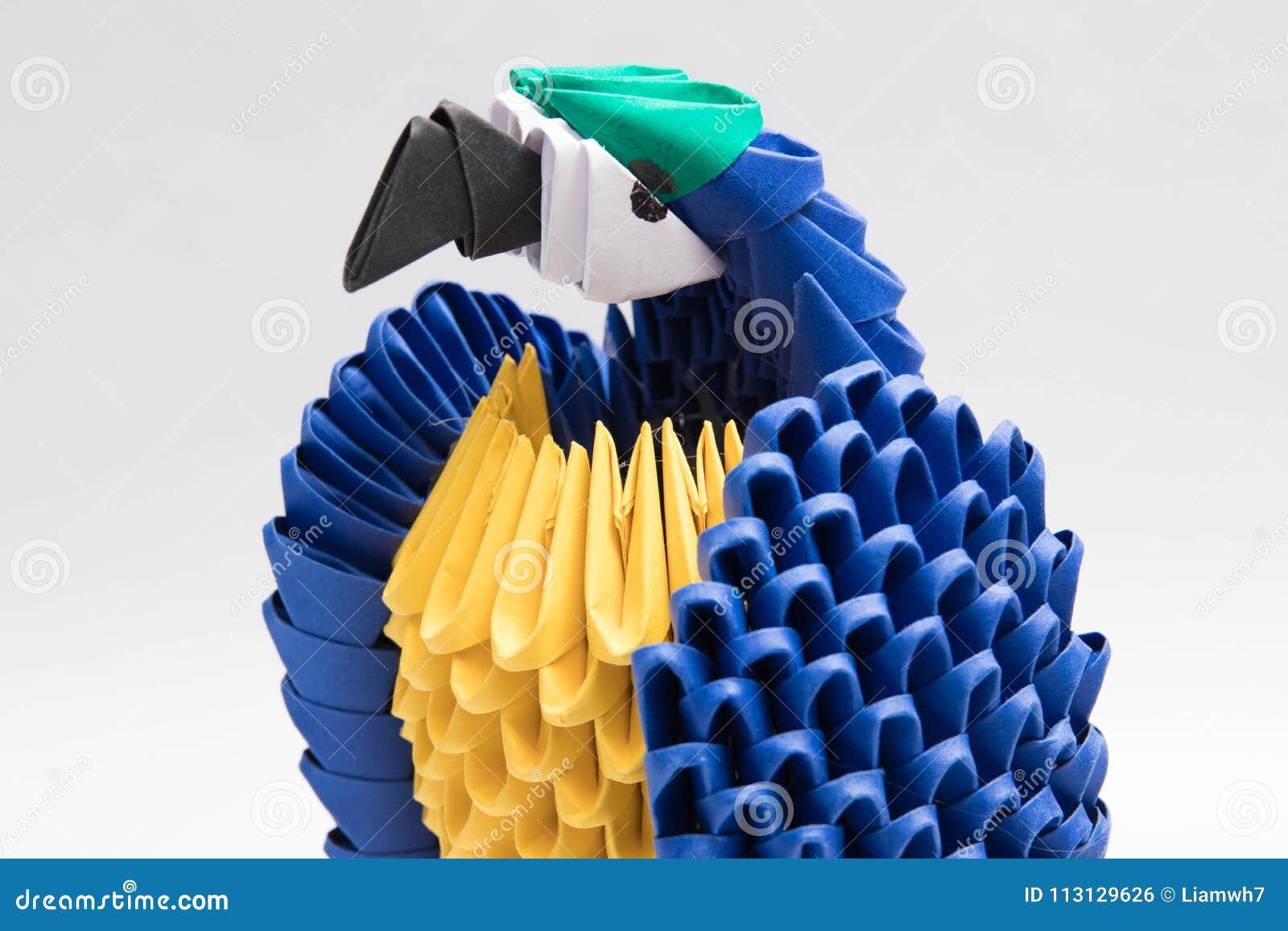 τρισδιάστατο μπλε παπαγάλων πουλιών origami