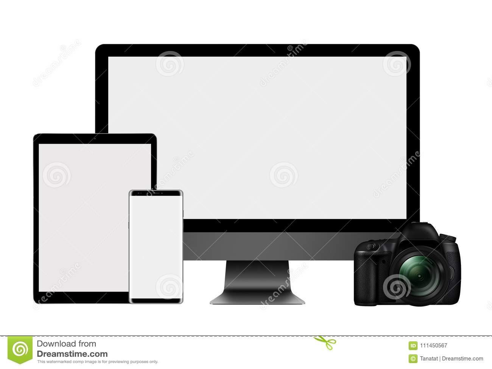 τρισδιάστατο σύνολο απεικόνισης οργάνου ελέγχου, του PC ταμπλετών, κινητού τηλεφώνου και κάμερας DSLR