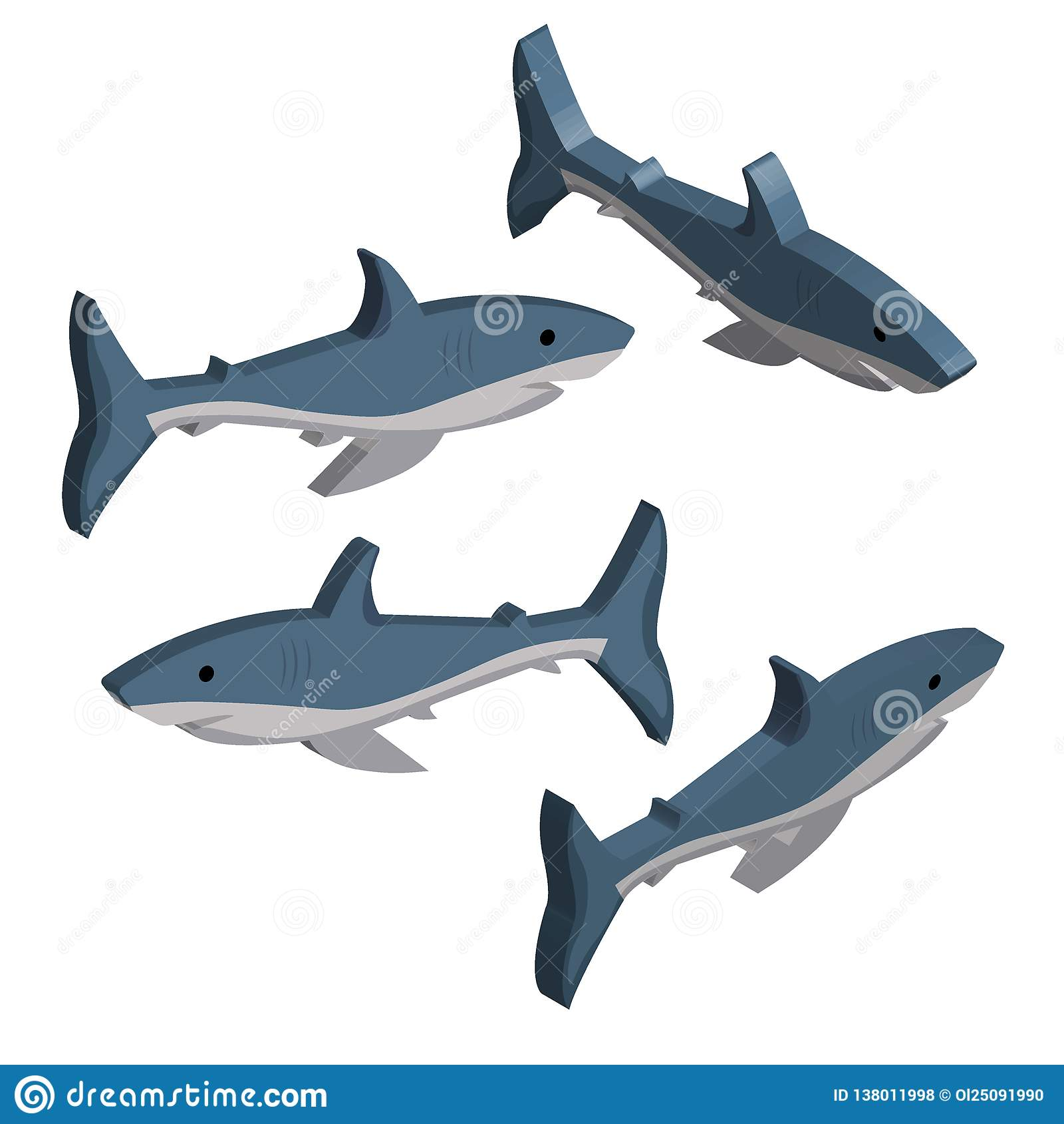 τρισδιάστατο σύνολο μπλε καρχαριών που απομονώνεται στο άσπρο υπόβαθρο