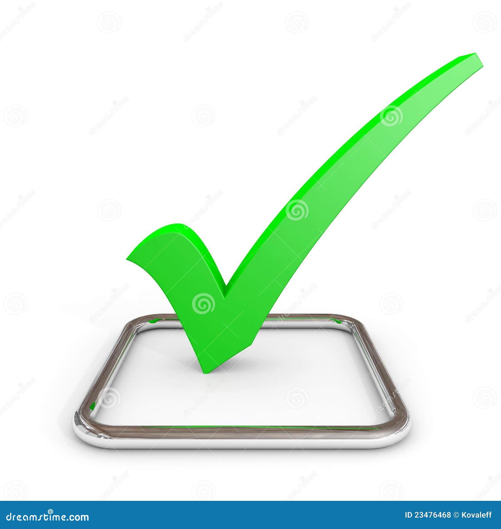 τρισδιάστατο checkmark τετραγωνιδίου χρώμιο πράσινο