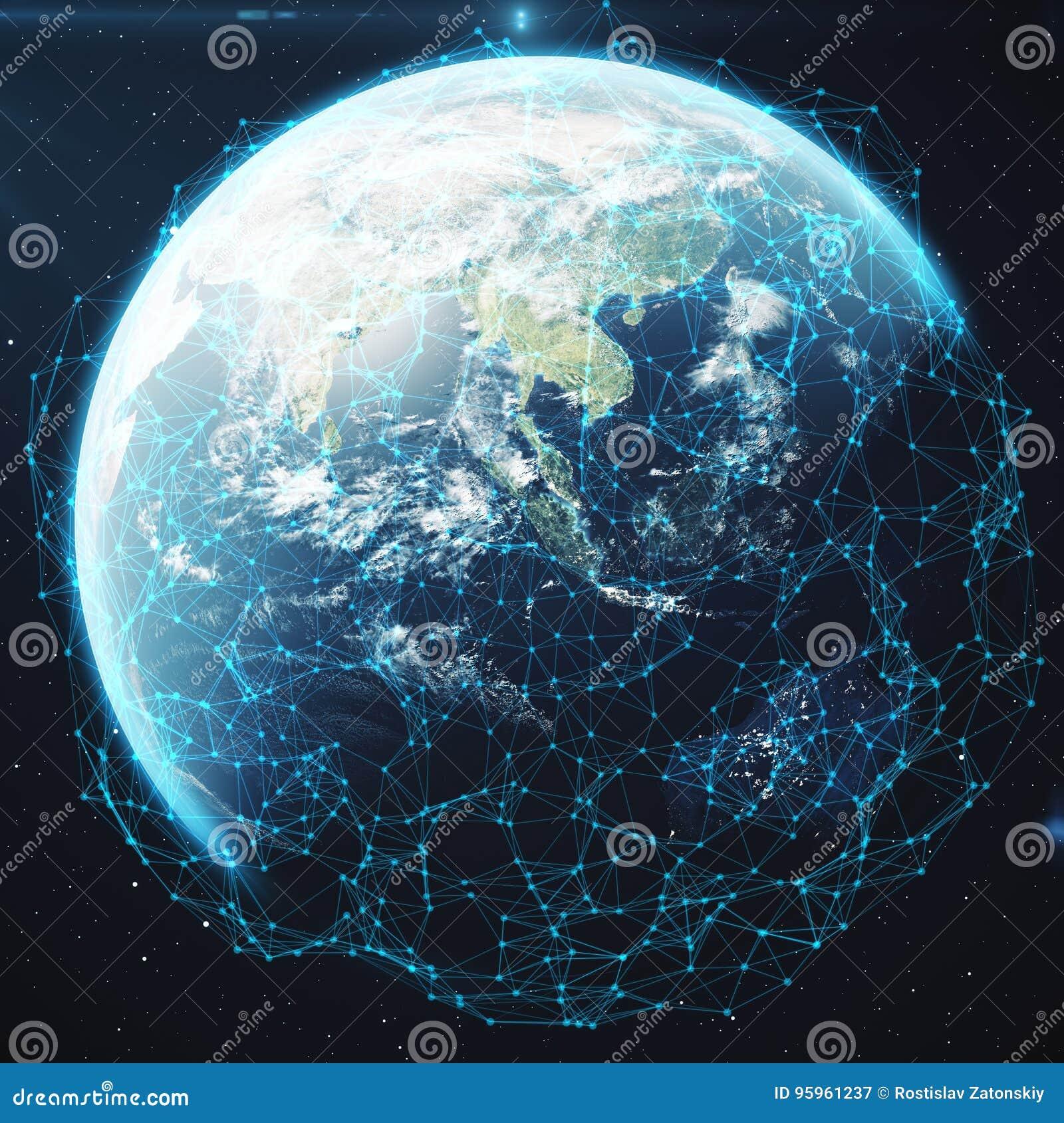 τρισδιάστατη δίνοντας ανταλλαγή δικτύων και στοιχείων πέρα από το πλανήτη Γη στο διάστημα Γραμμές σύνδεσης σε όλη τη γήινη υδρόγε