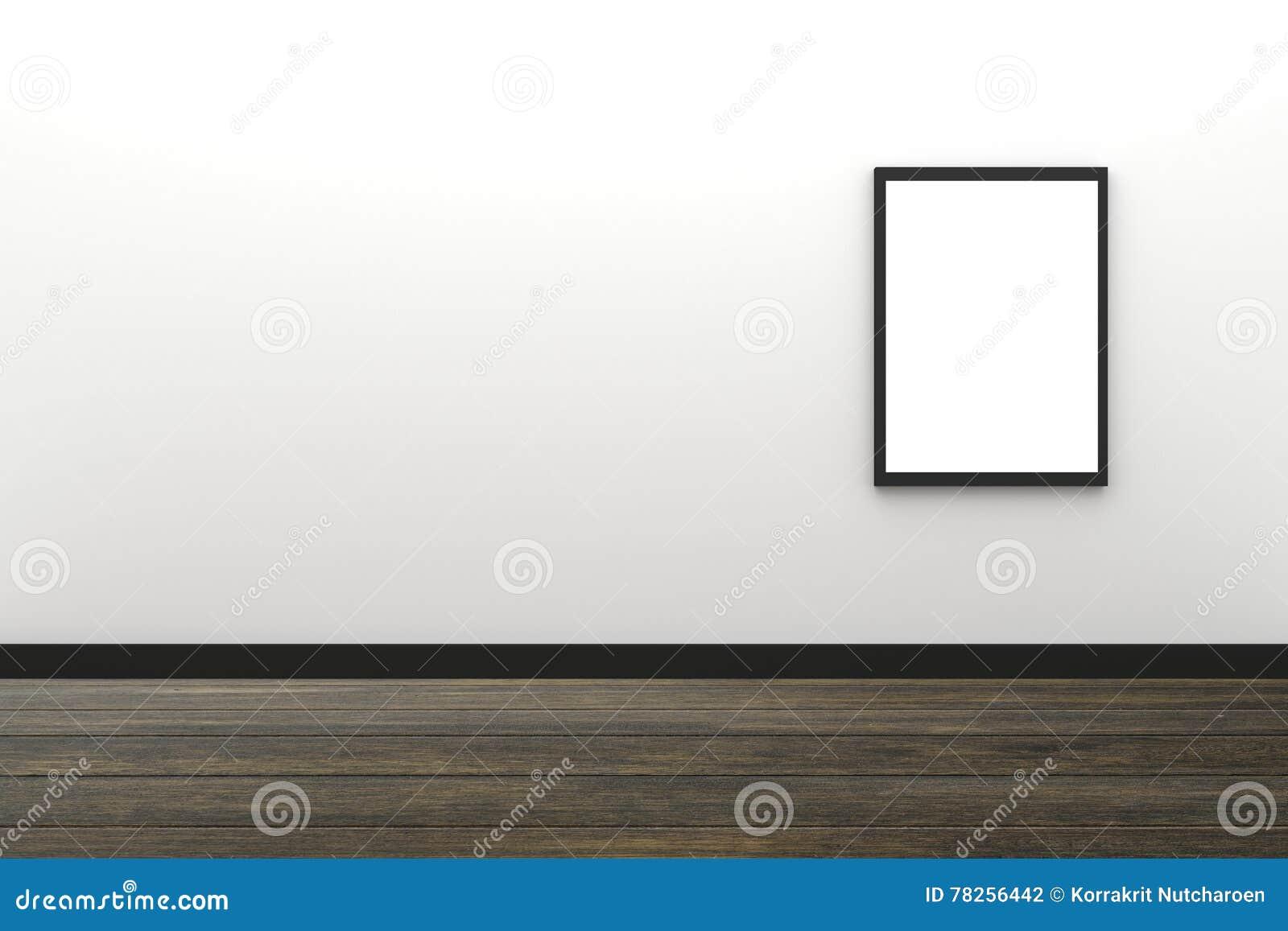 τρισδιάστατη απόδοση: απεικόνιση της κενής μαύρης ένωσης πλαισίων φωτογραφιών στο άσπρο εσωτερικό τοίχων με το ξύλινο πάτωμα, πορ