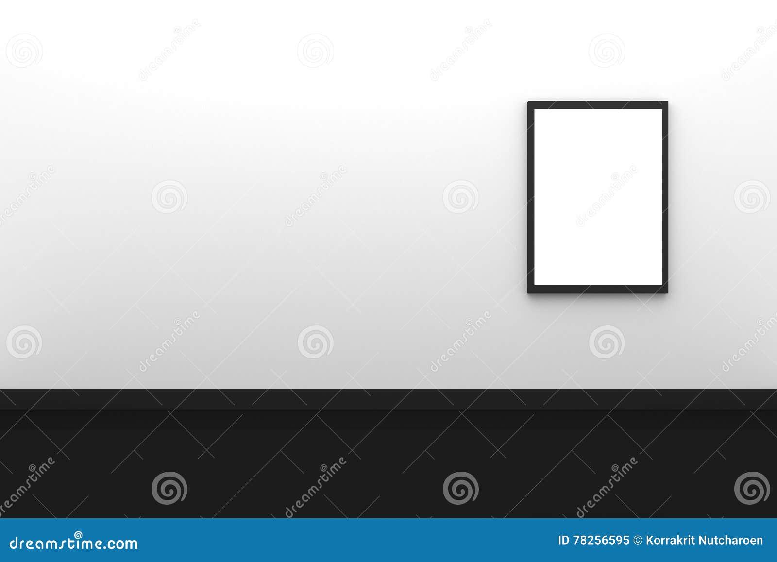 τρισδιάστατη απόδοση: απεικόνιση της κενής μαύρης ένωσης πλαισίων φωτογραφιών τρία στο άσπρο εσωτερικό τοίχων με το μαύρο πάτωμα,