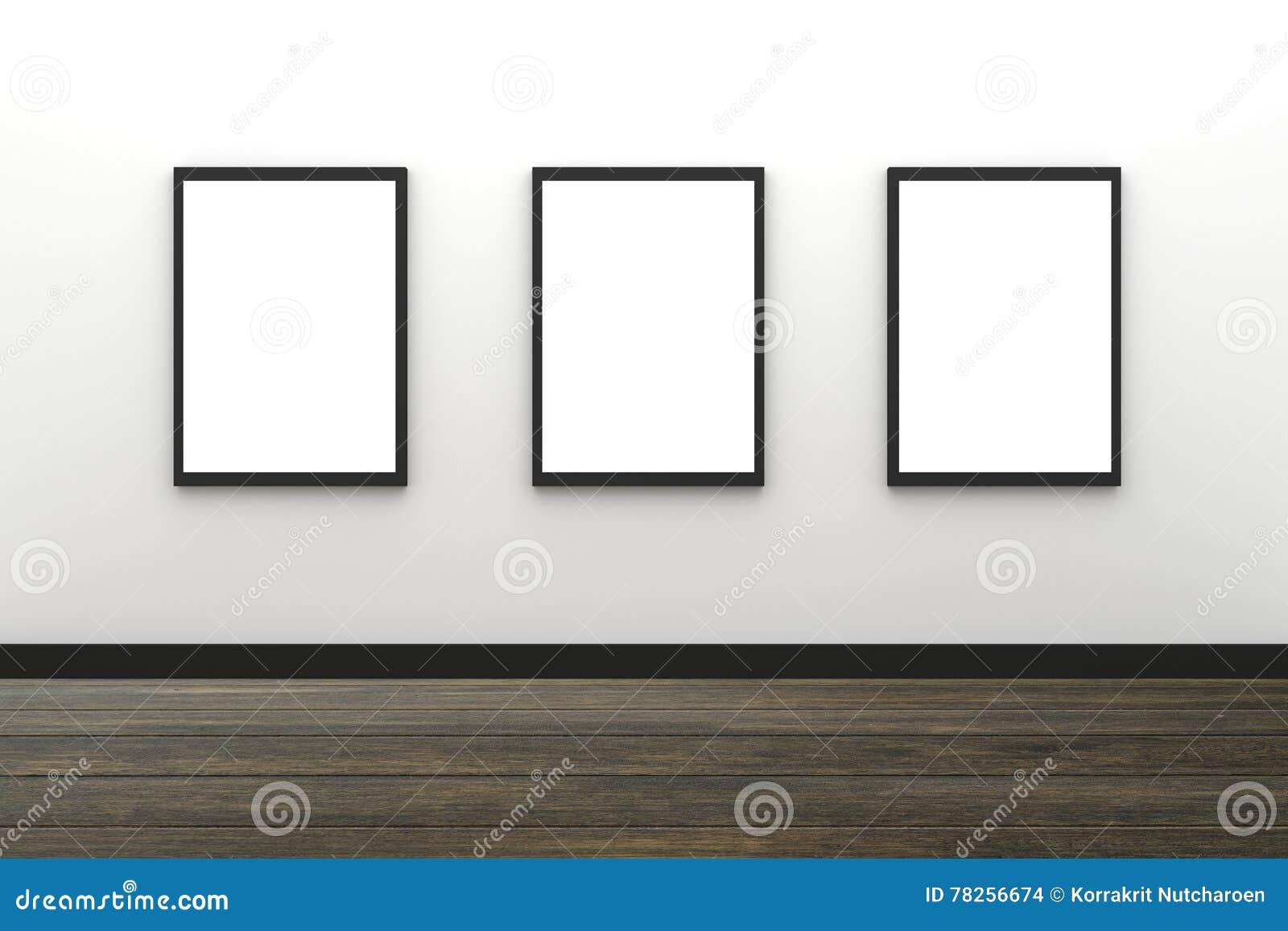 τρισδιάστατη απόδοση: απεικόνιση της κενής μαύρης ένωσης πλαισίων φωτογραφιών τρία στο άσπρο εσωτερικό τοίχων με το ξύλινο πάτωμα