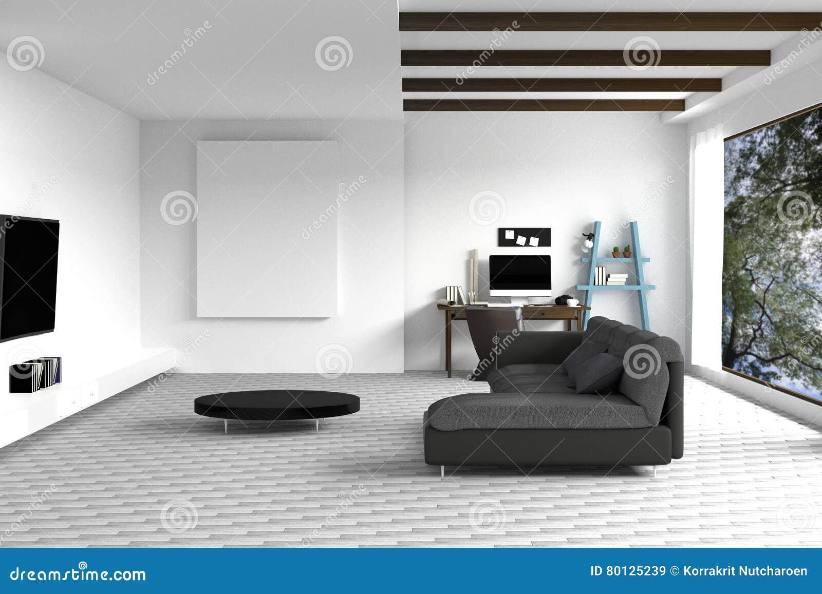 τρισδιάστατη απόδοση: απεικόνιση του άσπρου εσωτερικού σχεδίου καθιστικών με το σκοτεινό καναπέ κενή εικόνα πλαισίων ράφια και άσ