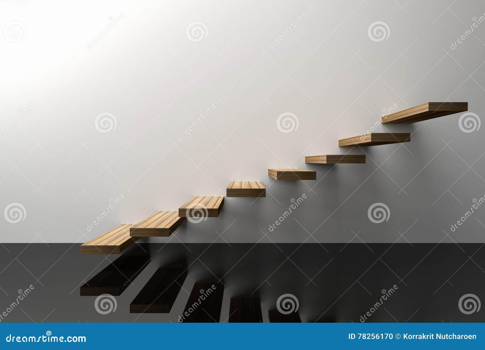 τρισδιάστατη απόδοση: η απεικόνιση του ξύλινου σκαλοπατιού ή επιταχύνει στο άσπρο κλίμα τοίχων με το λαμπρό μαύρο πάτωμα, επιτυχί