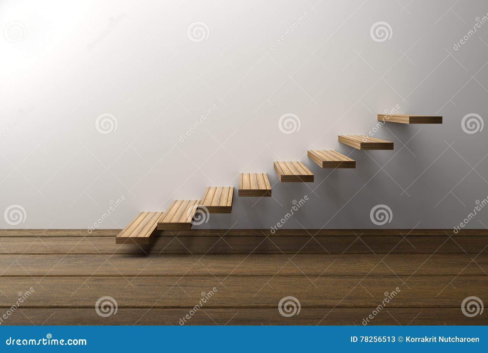 τρισδιάστατη απόδοση: η απεικόνιση του ξύλινου σκαλοπατιού ή επιταχύνει στο άσπρο κλίμα τοίχων με το ξύλινο πάτωμα, επιτυχία, ανα