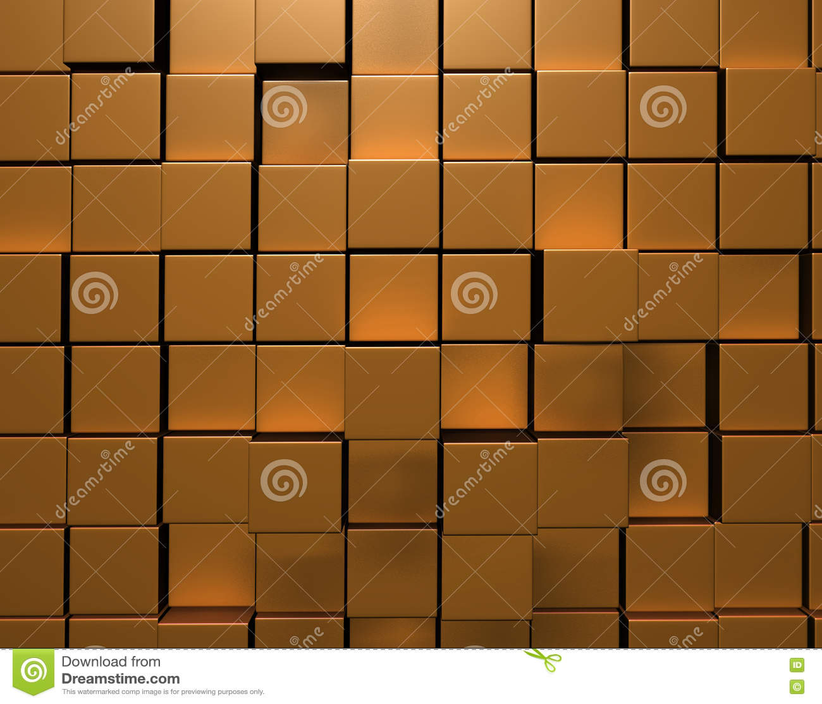 τρισδιάστατη απόδοση του τοίχου των ανώμαλων χρυσών κεραμιδιών