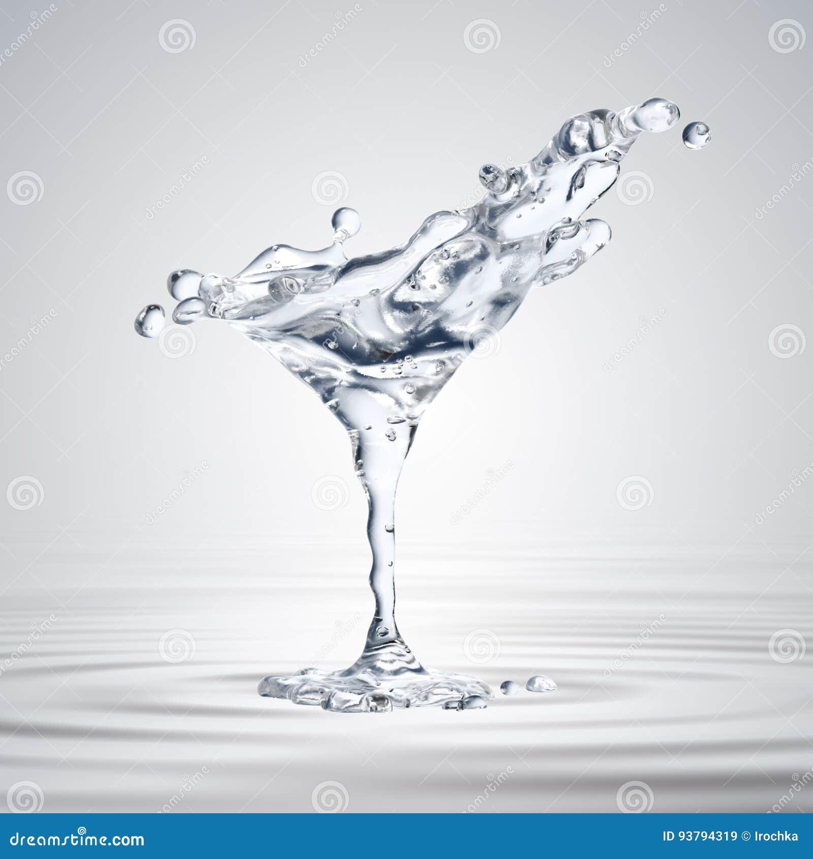 τρισδιάστατη απόδοση του martini γυαλιού με τις πτώσεις νερού