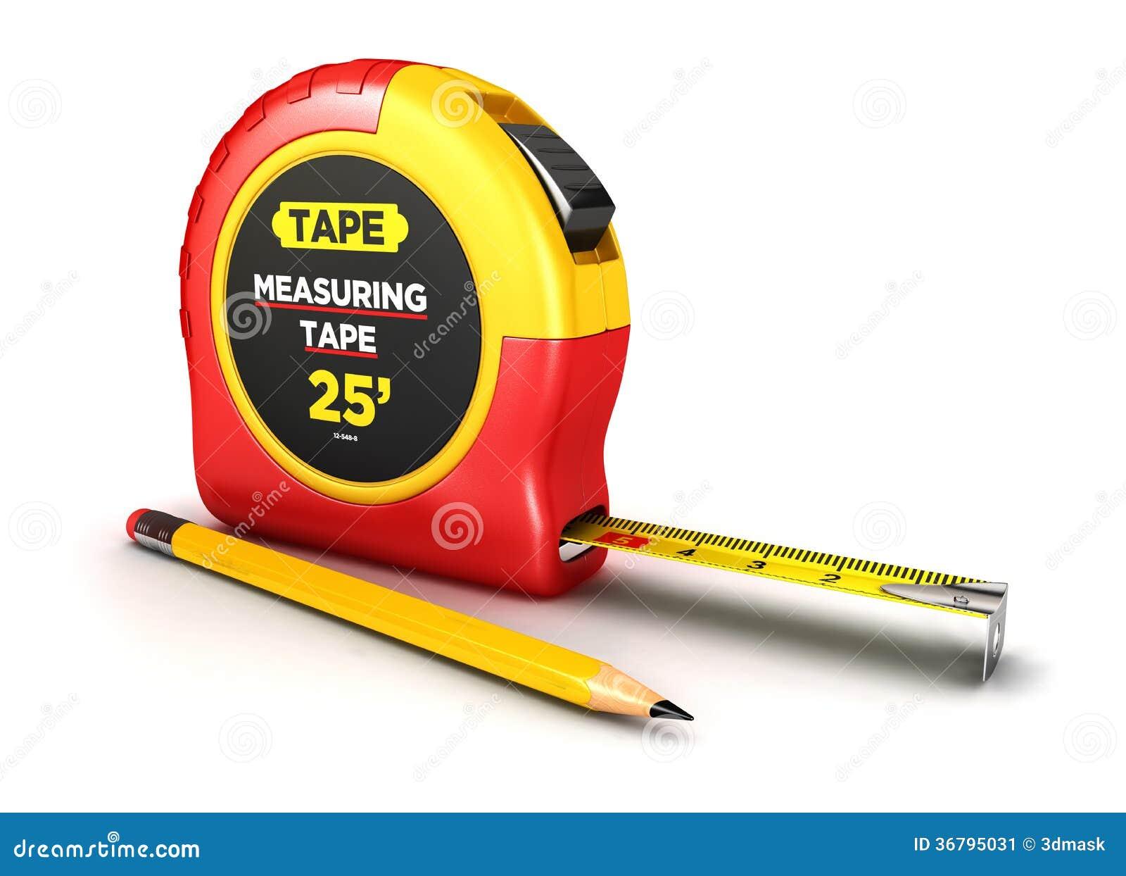 τρισδιάστατη μετρώντας ταινία και ένα μολύβι
