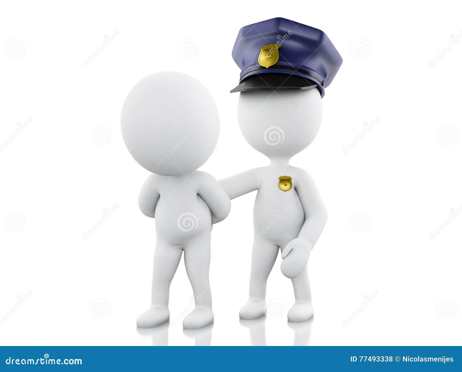 τρισδιάστατος αστυνομικός που συλλαμβάνει έναν κλέφτη στο άσπρο κλίμα