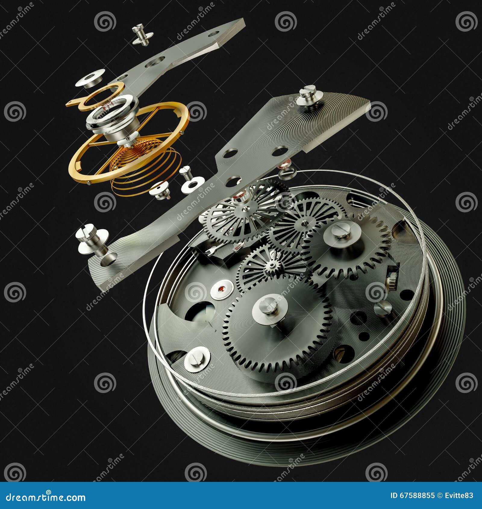 τρισδιάστατος μηχανισμός ρολογιών στο μαύρο υπόβαθρο