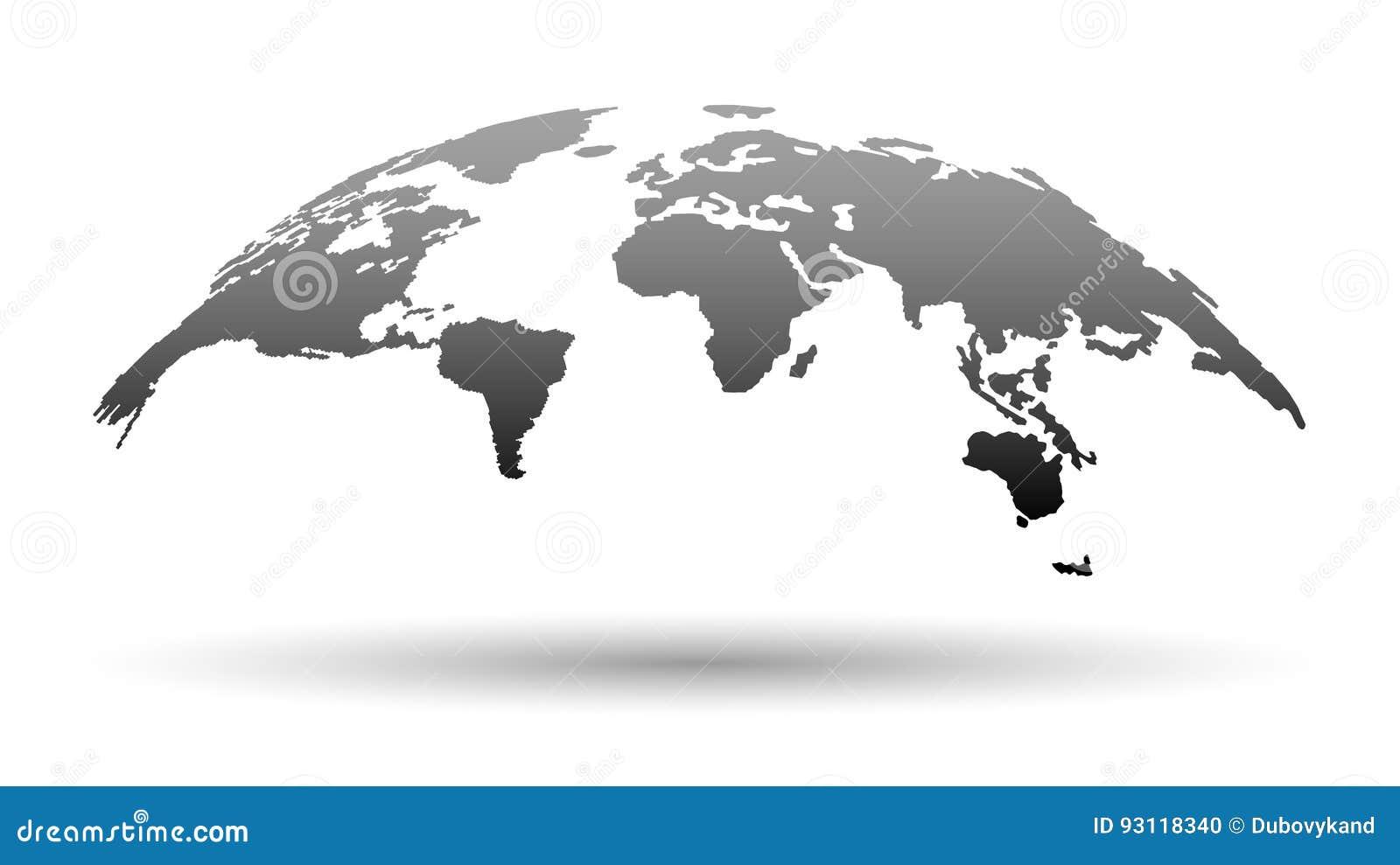 τρισδιάστατος χάρτης του κόσμου στο γκρίζο χρώμα