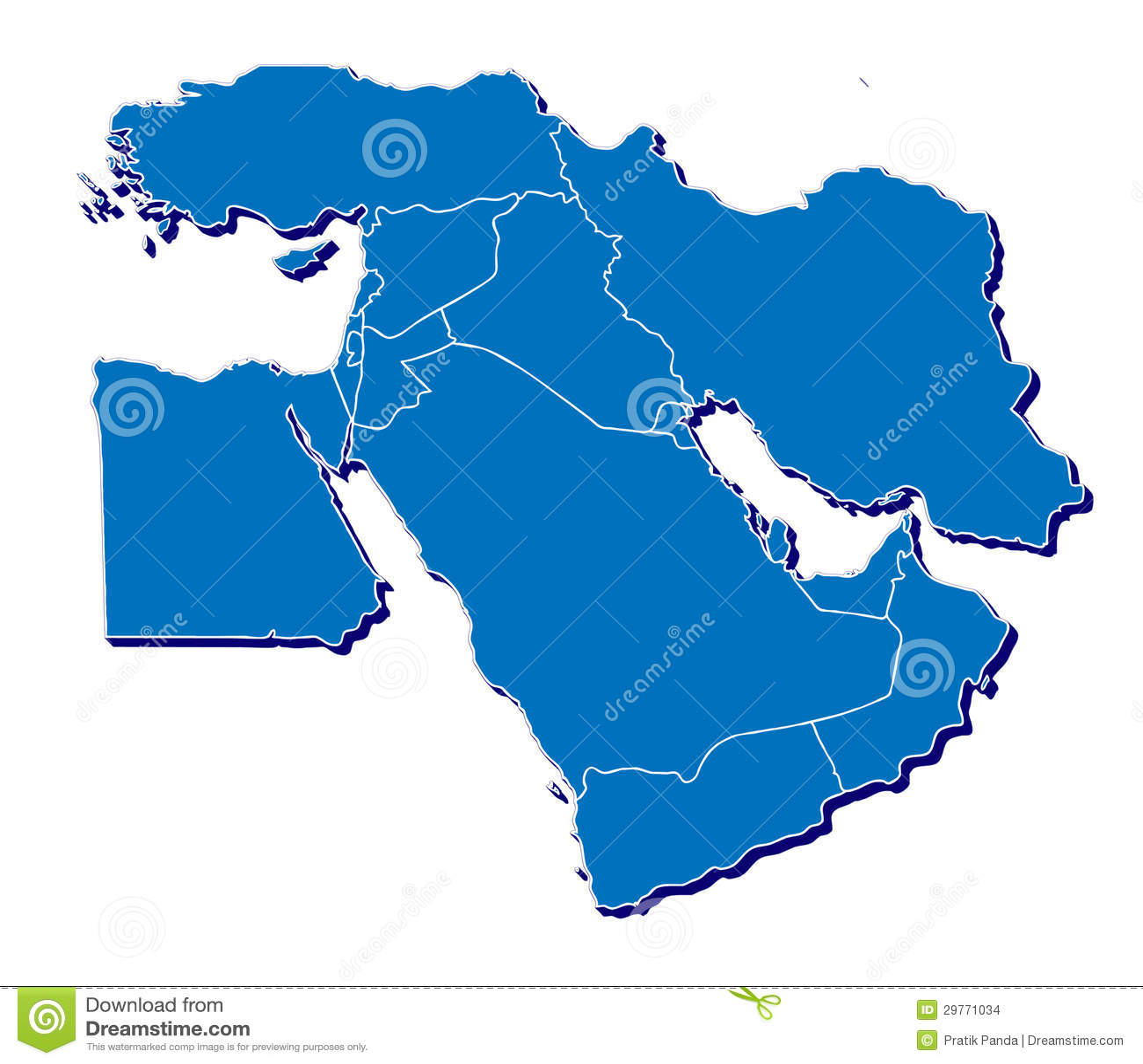 Χάρτης της Μέσης Ανατολής σε τρισδιάστατο