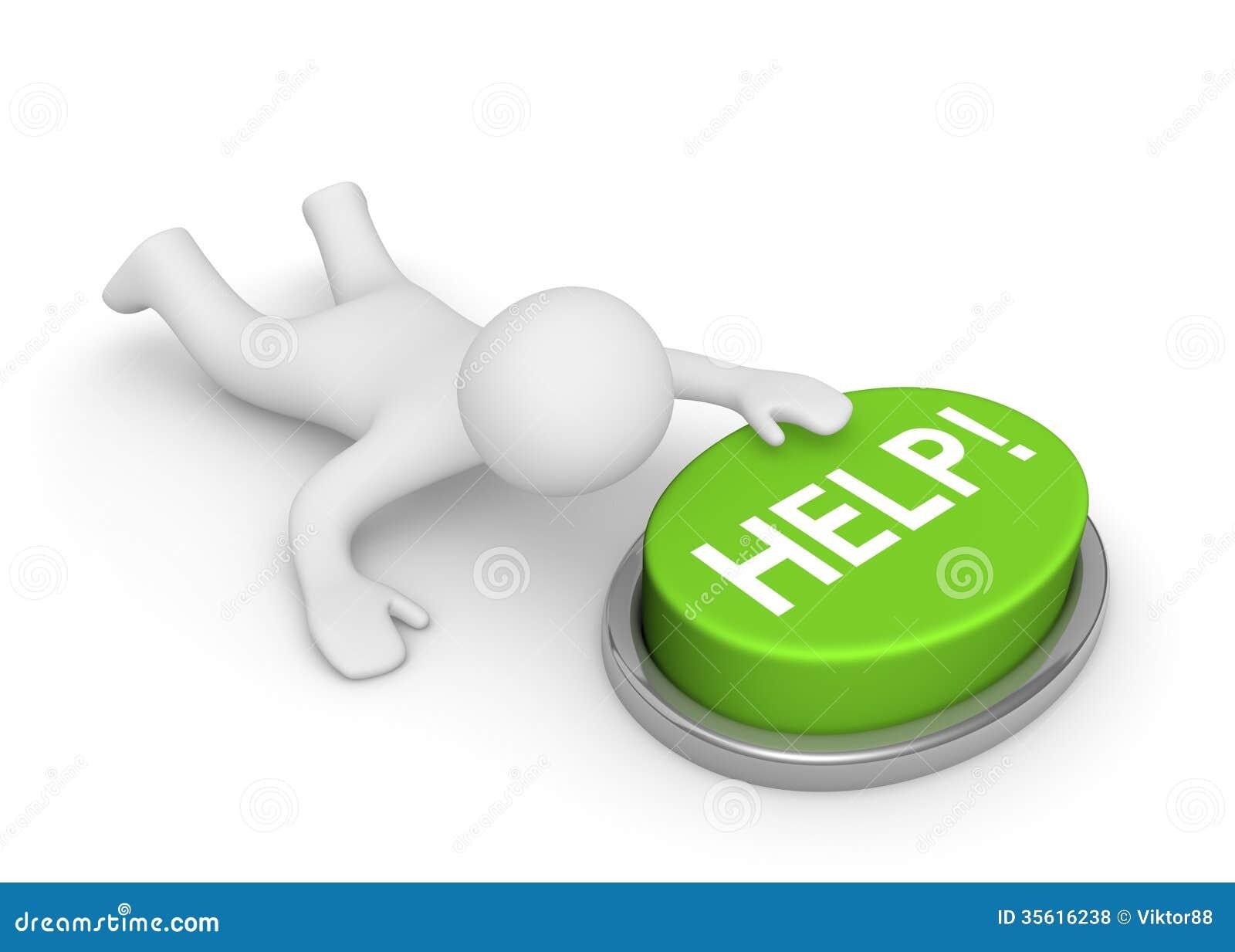 τρισδιάστατο άτομο που σέρνεται στο κουμπί βοήθειας