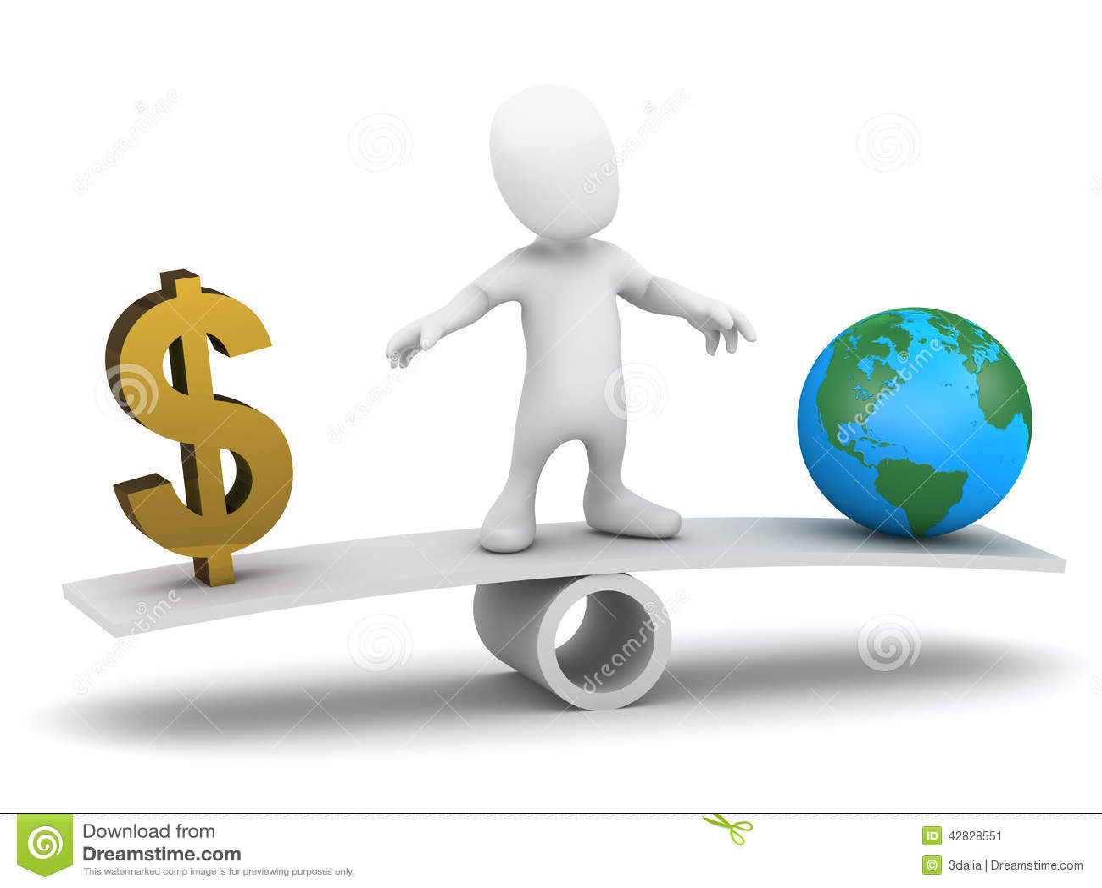 τρισδιάστατο λίγο άτομο ισορροπεί τα χρήματα ενάντια στη γη