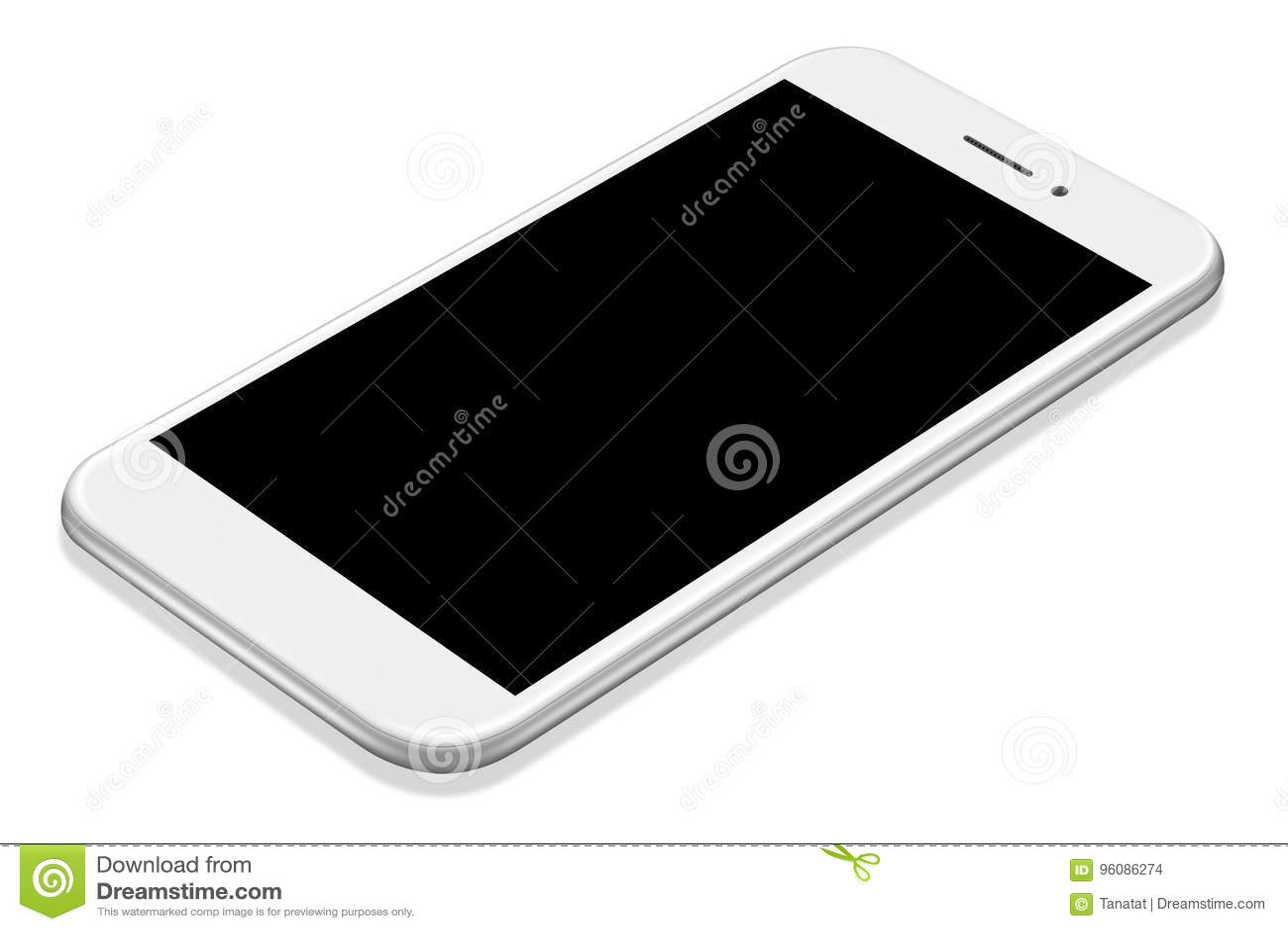 τρισδιάστατο απεικόνισης ρεαλιστικό πρότυπο smartphone προοπτικής άσπρο