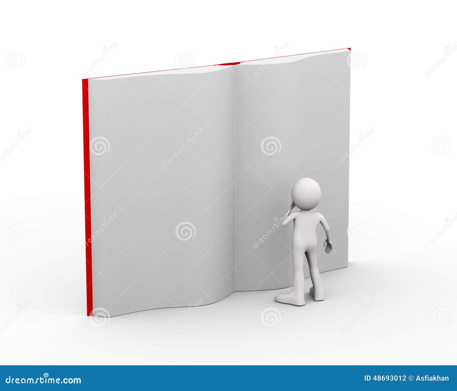 τρισδιάστατο πρόσωπο που διαβάζει το μεγάλο ανοικτό βιβλίο