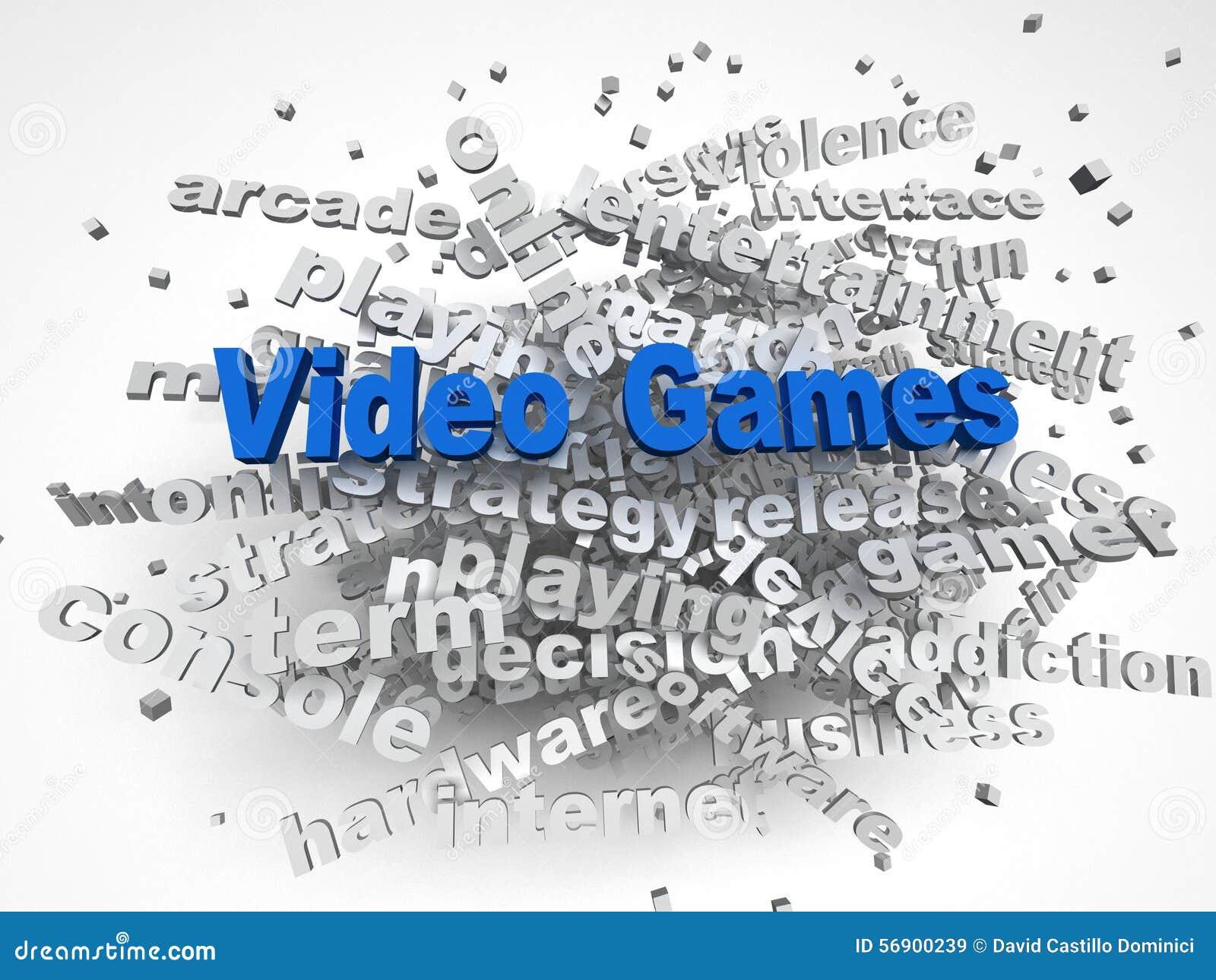 τρισδιάστατο υπόβαθρο σύννεφων λέξης έννοιας ζητημάτων παιχνιδιών εικόνας τηλεοπτικό