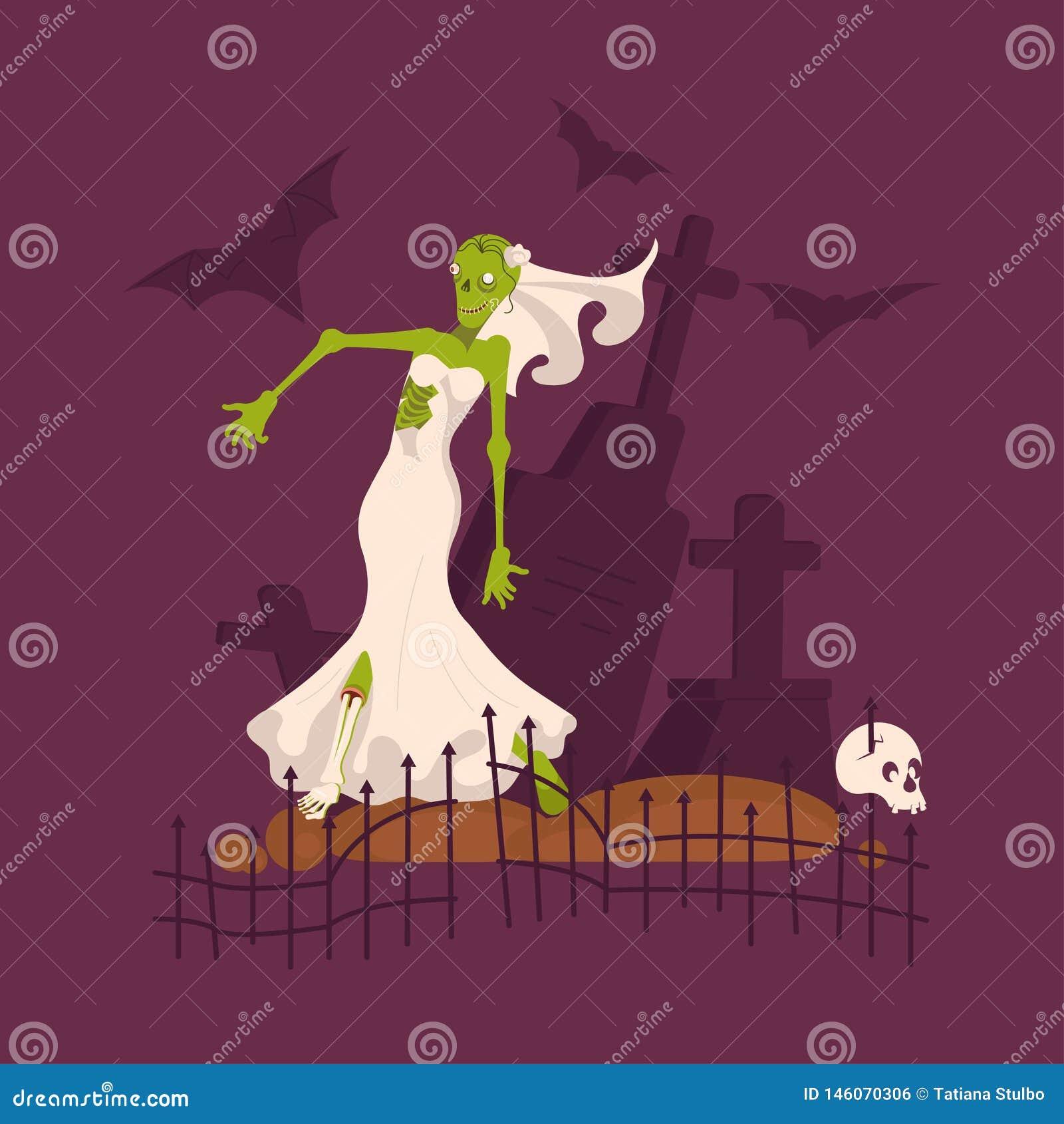 Τρομακτική νεκρή νύφη που φορά το γαμήλιο φόρεμα