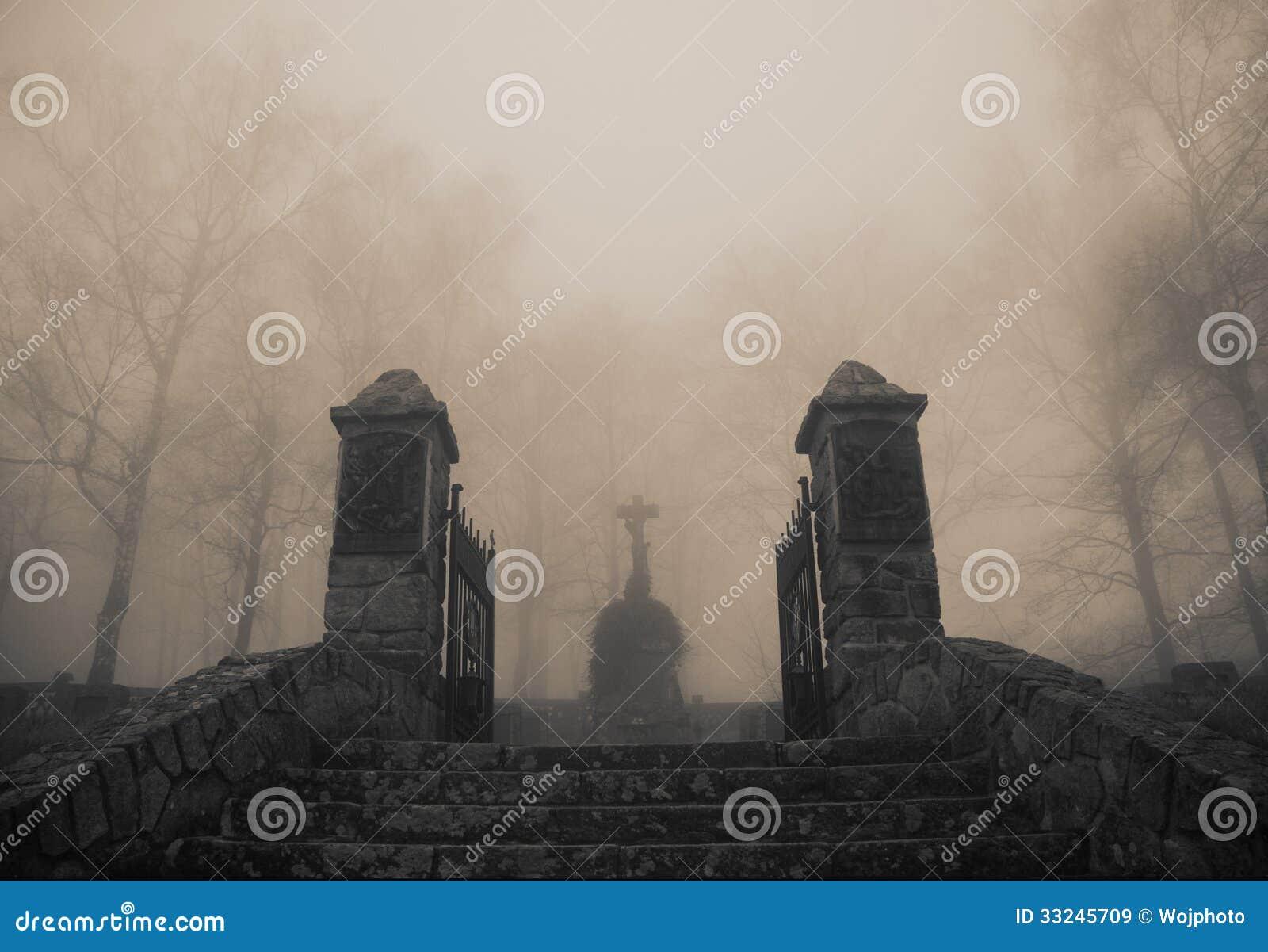 Τρομακτική παλαιά είσοδος στο δασικό νεκροταφείο στην πυκνή ομίχλη