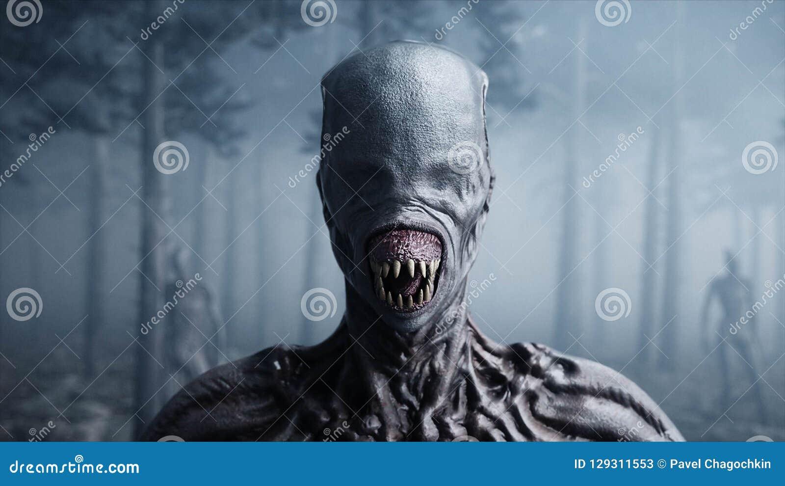 Τρομακτικό τέρας στο δασικούς φόβο και τη φρίκη νύχτας ομίχλης Έννοια Mistic και ufo τρισδιάστατη απόδοση