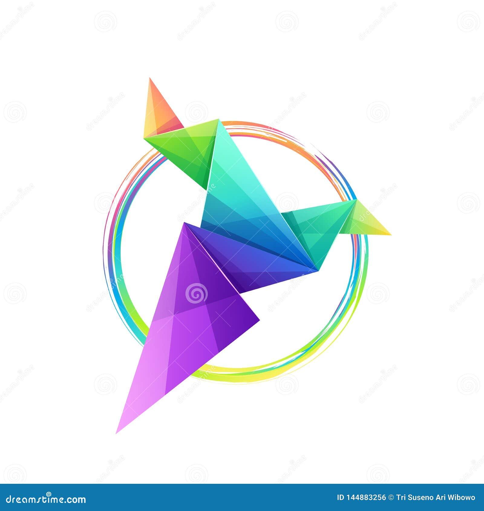 Τρομερό ζωηρόχρωμο σχέδιο λογότυπων πουλιών origami