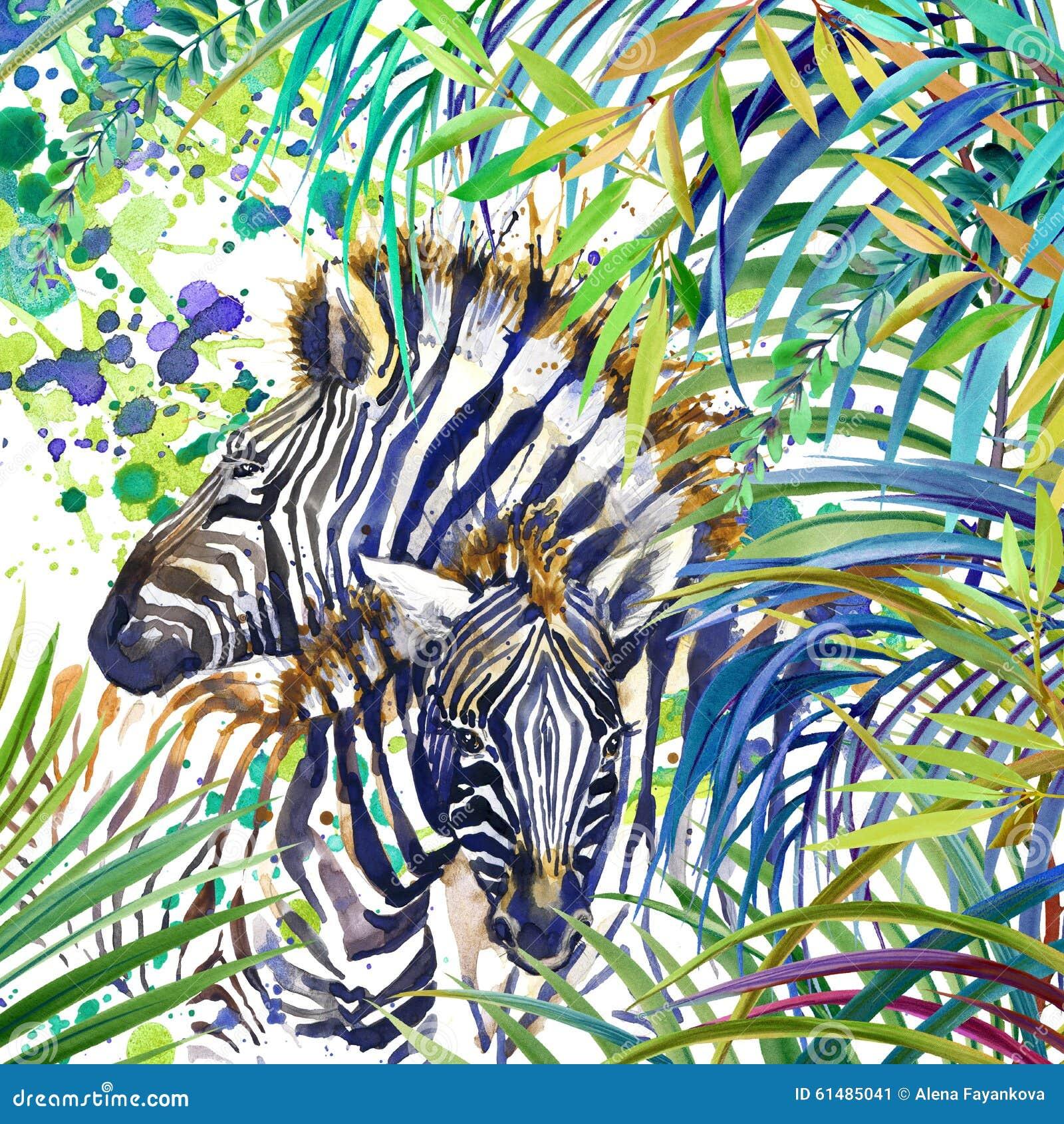 Τροπική εξωτική δασική, ζέβρα οικογένεια, πράσινα φύλλα, άγρια φύση, απεικόνιση watercolor Φε, απεικόνιση watercolor