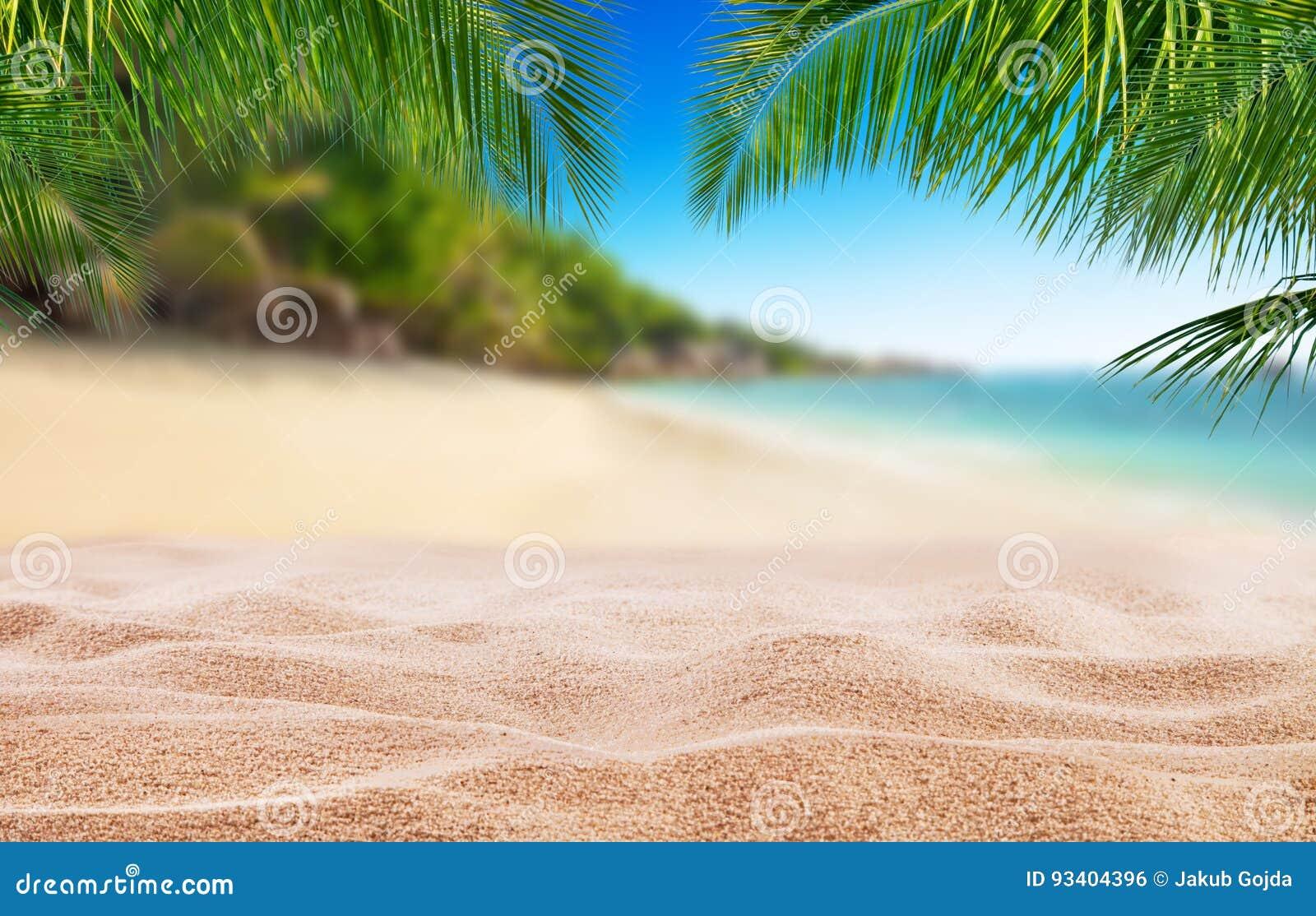 Τροπική παραλία με την άμμο, υπόβαθρο καλοκαιρινών διακοπών