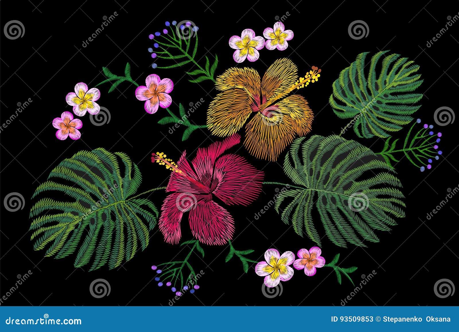 Τροπική ρύθμιση λουλουδιών κεντητικής Εξωτική θερινή ζούγκλα ανθών εγκαταστάσεων Υφαντικό μπάλωμα τυπωμένων υλών μόδας Hibiscus τ