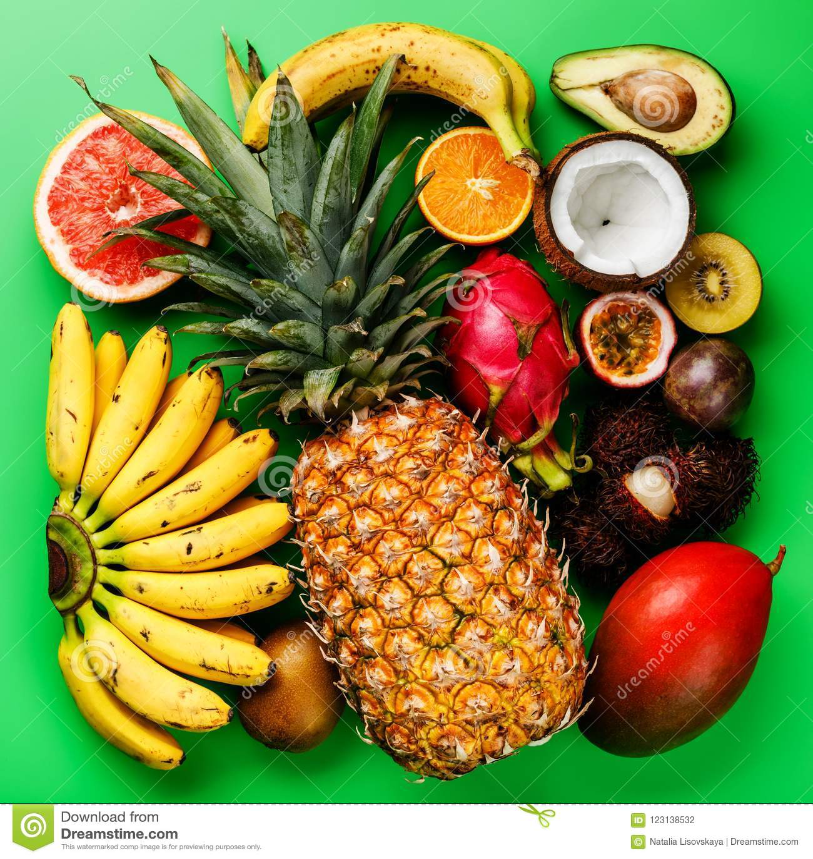 Τροπικός εξωτικός ανάμεικτος ανανάς φρούτων, καρύδα, Pitahaya, Ki
