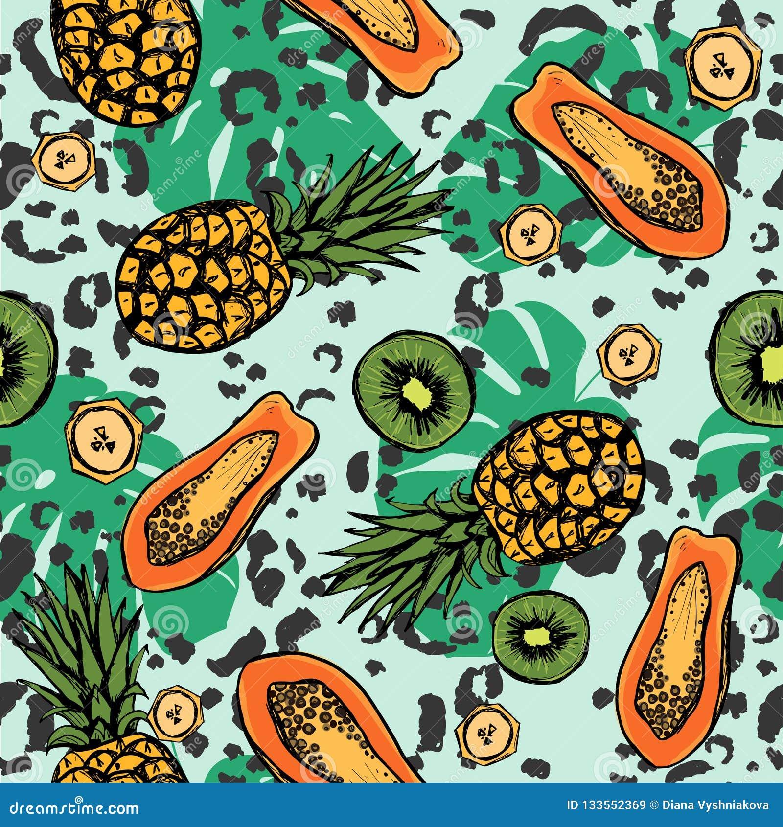 Τροπικό άνευ ραφής σχέδιο με τα εξωτικά φρούτα και τα φύλλα