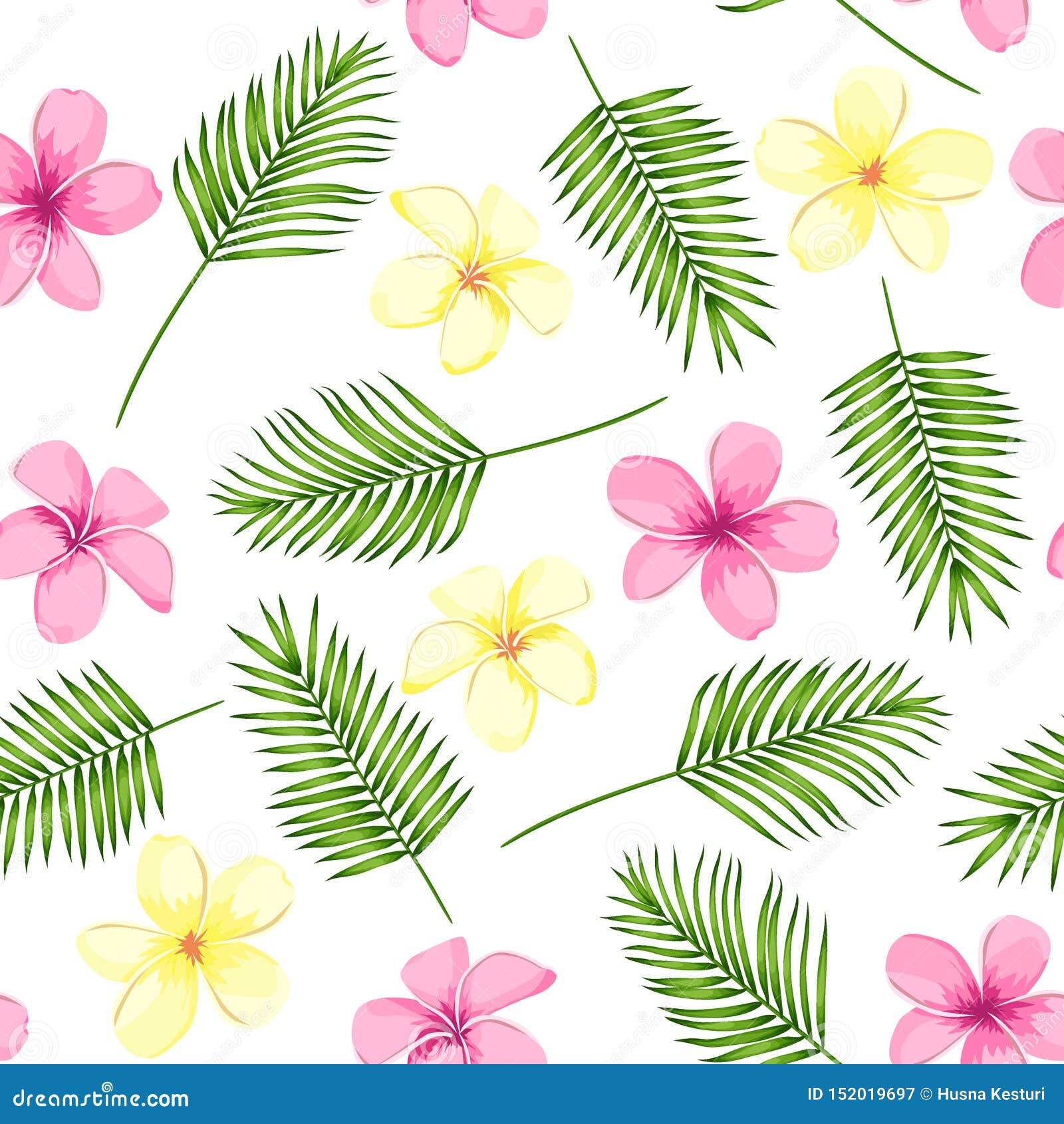 Τροπικό άνευ ραφής σχέδιο με τα φύλλα και τα λουλούδια φοινικών r