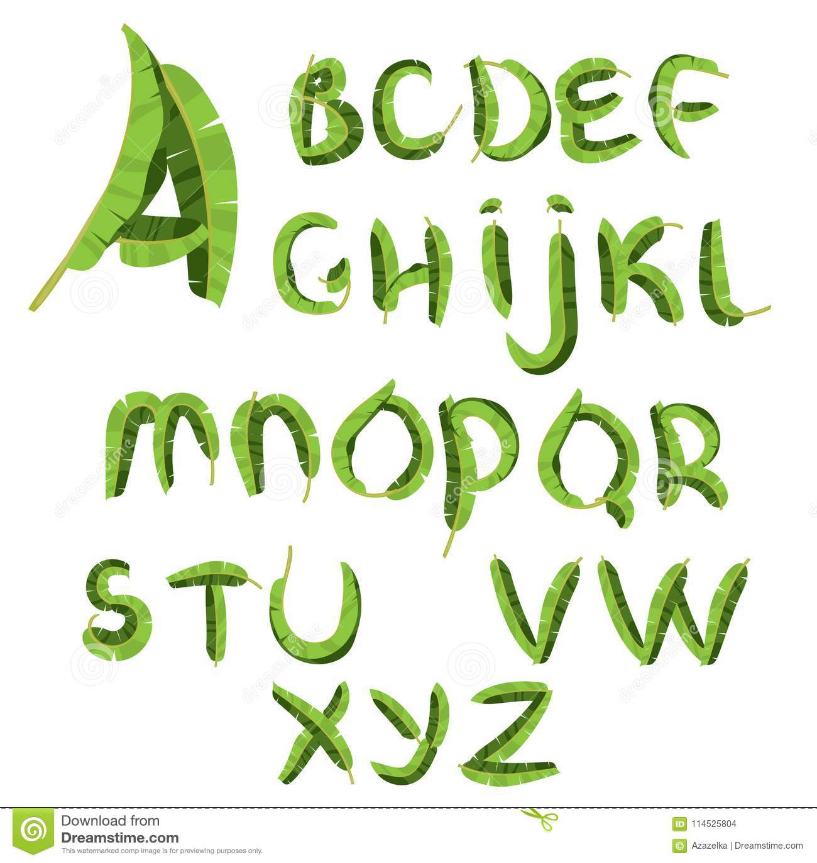 Τροπικό αλφάβητο φιαγμένο από φύλλα φοινικών μπανανών Συρμένο χέρι πράσινο paradice abc Φυσικές θερινές επιστολές eps σχεδίου 10