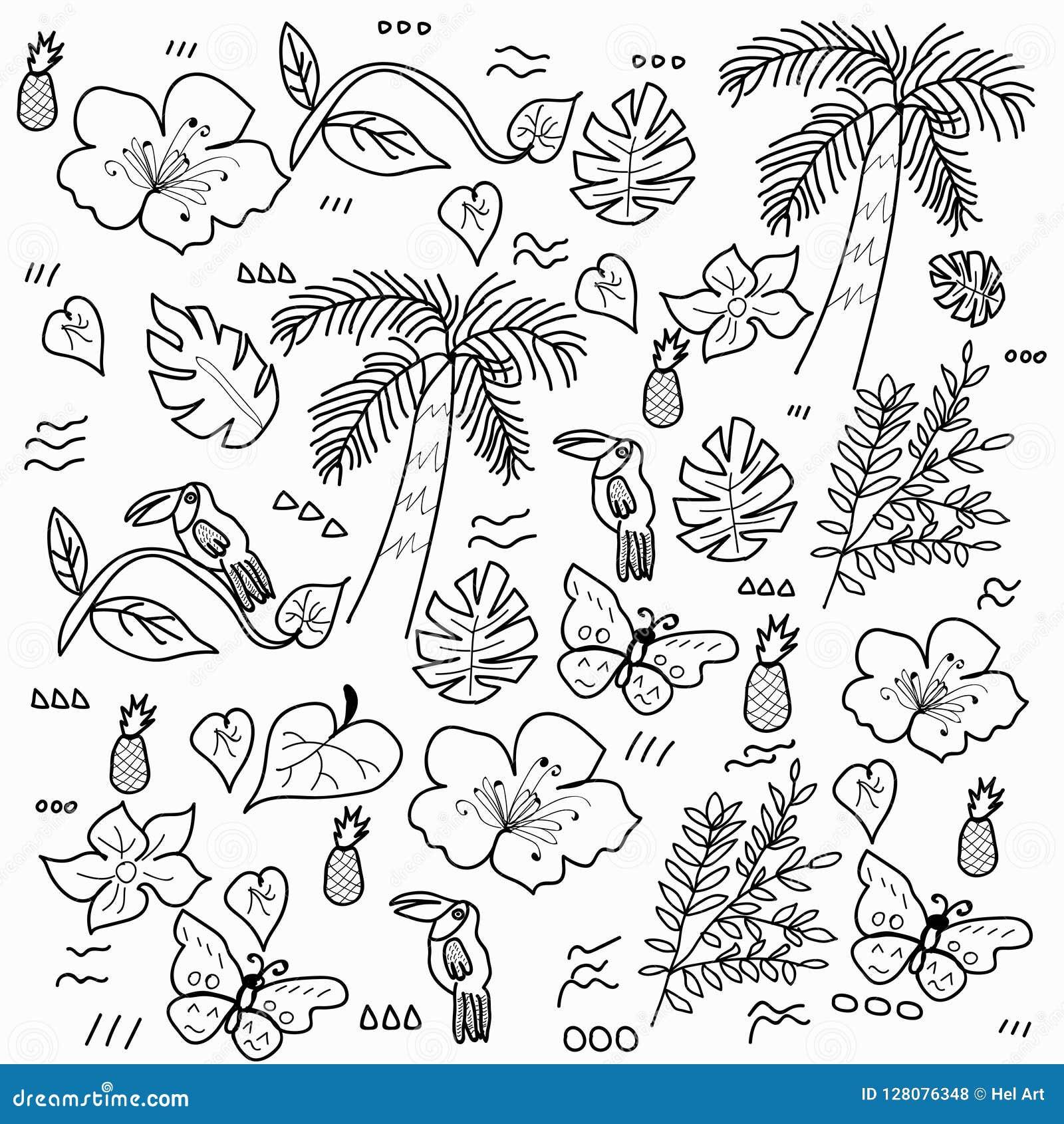 Τροπικό δασικό διάνυσμα ύφους doodle