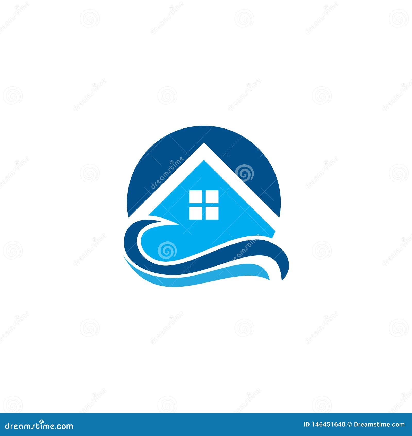 Τροπικό λογότυπο θερέτρου κυμάτων σπιτιών