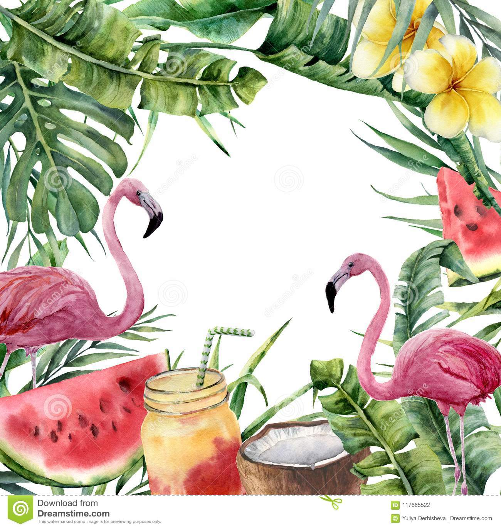 Τροπικό πλαίσιο Watercolor με τον κλάδο φοινικών και το ρόδινο φλαμίγκο Το χέρι χρωμάτισε τη floral απεικόνιση με το κοκτέιλ, καρ