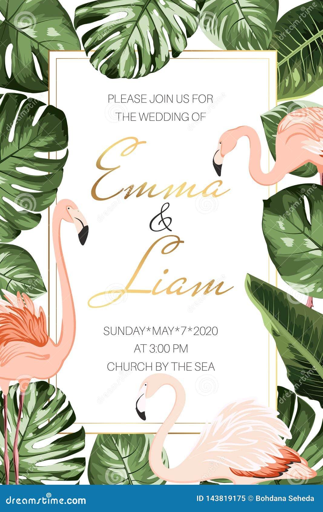 Τροπικό πρότυπο καρτών πρόσκλησης γεγονότος γαμήλιου γάμου