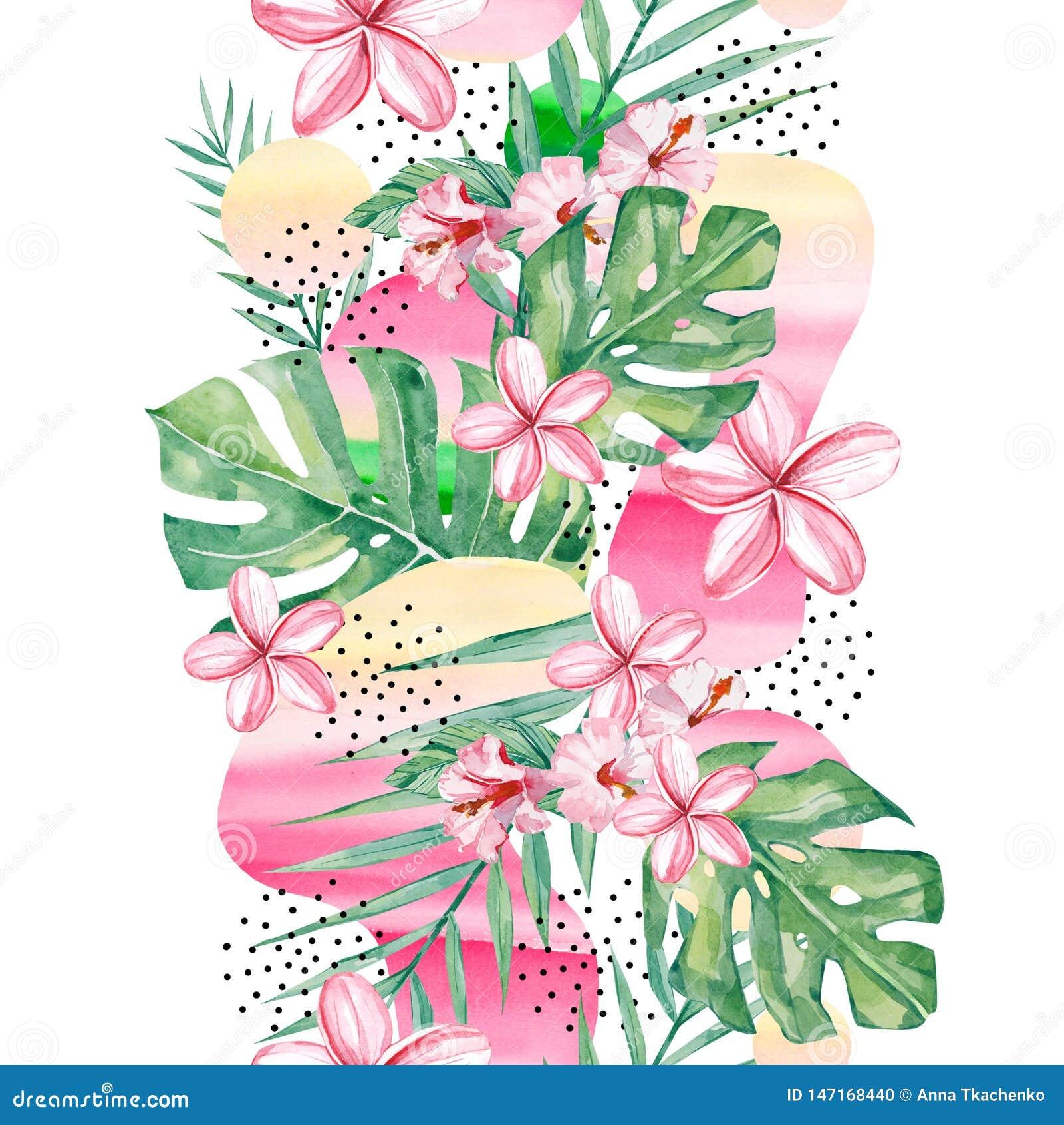 Τροπικό υπόβαθρο λουλουδιών, κλάδων και φύλλων Watercolor - αφηρημένο άνευ ραφής τροπικό φυτό σχεδίων