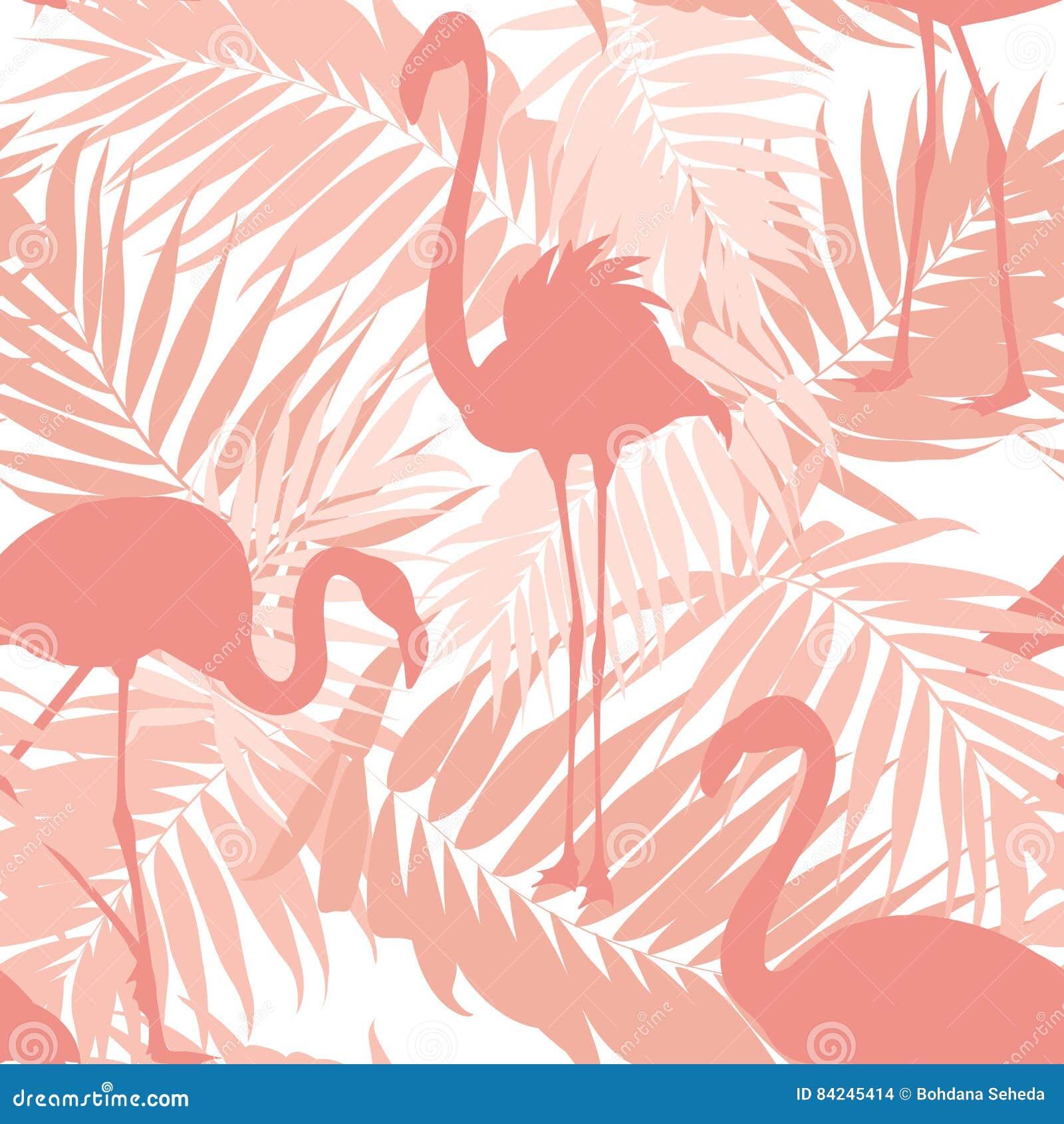 Τροπικό φοινικών ροζ πουλιών φλαμίγκο φύλλων εξωτικό