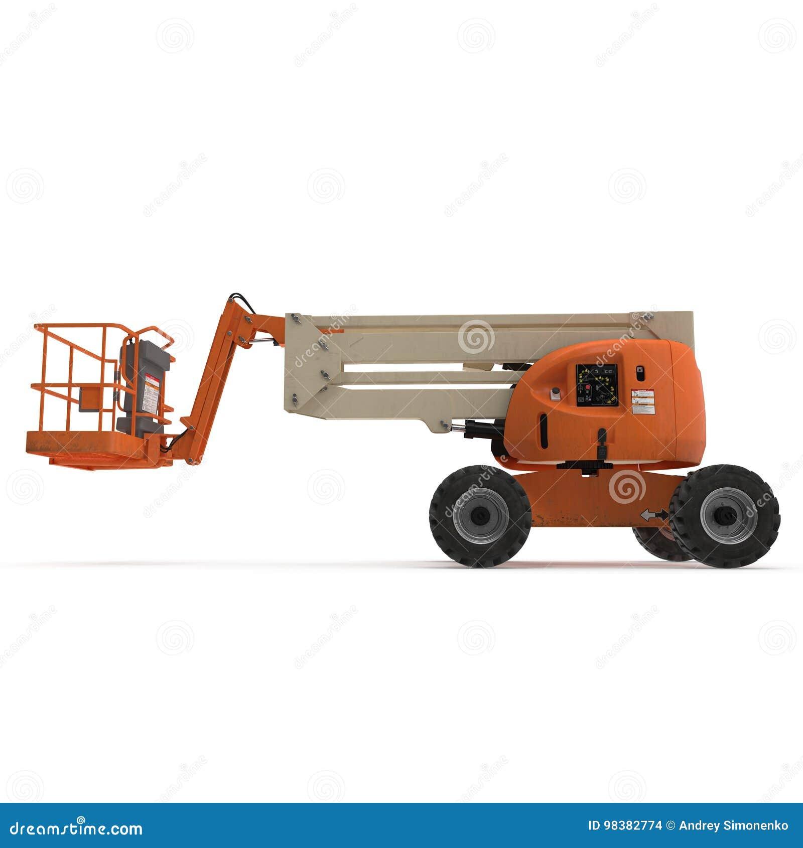 Τροφοδοτημένος μηχανή ανελκυστήρας ψαλιδιού στο λευκό τρισδιάστατη απεικόνιση
