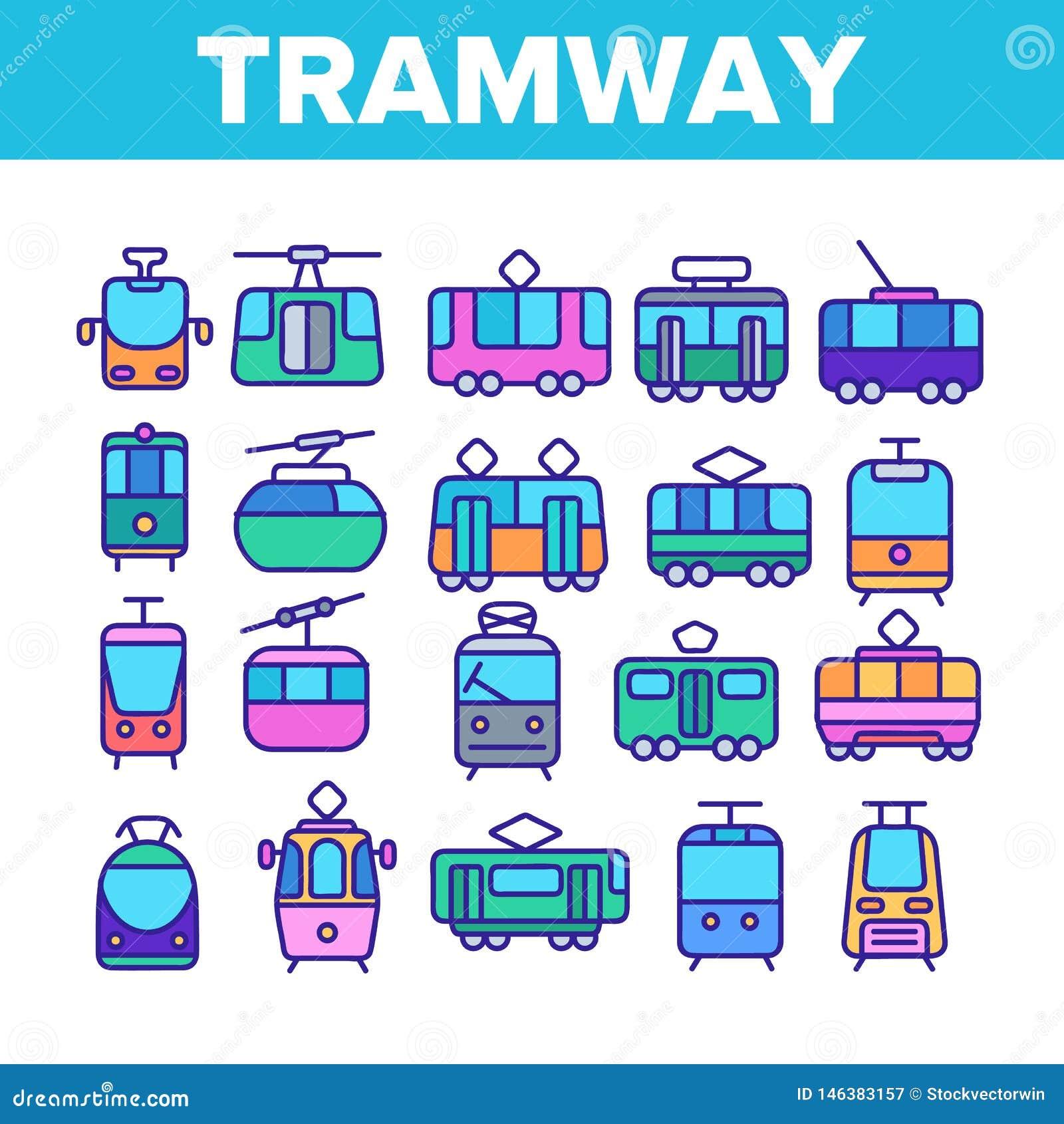 Τροχιοδρομική γραμμή, λεπτά εικονίδια γραμμών αστικών μεταφορών καθορισμένα